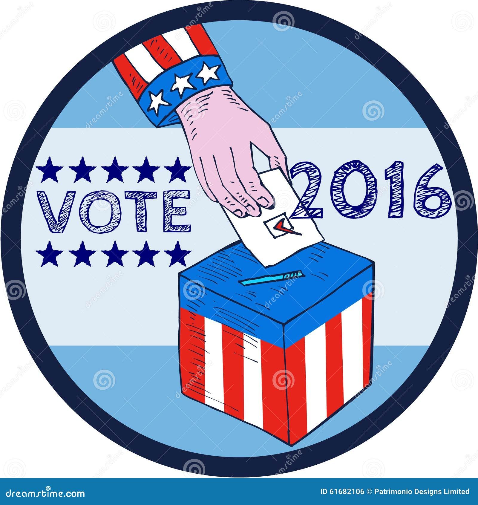 Vote 2016 Hand Ballot Box Circle Etching Stock ...