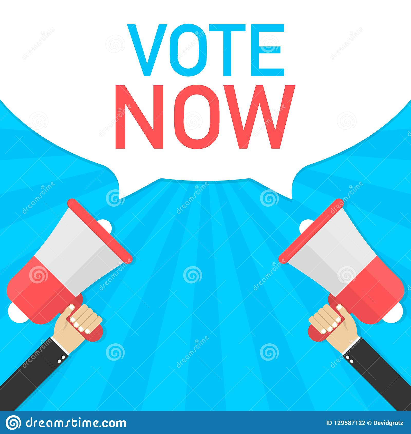 Vote now - advertising sign with megaphone. Vector illustration.