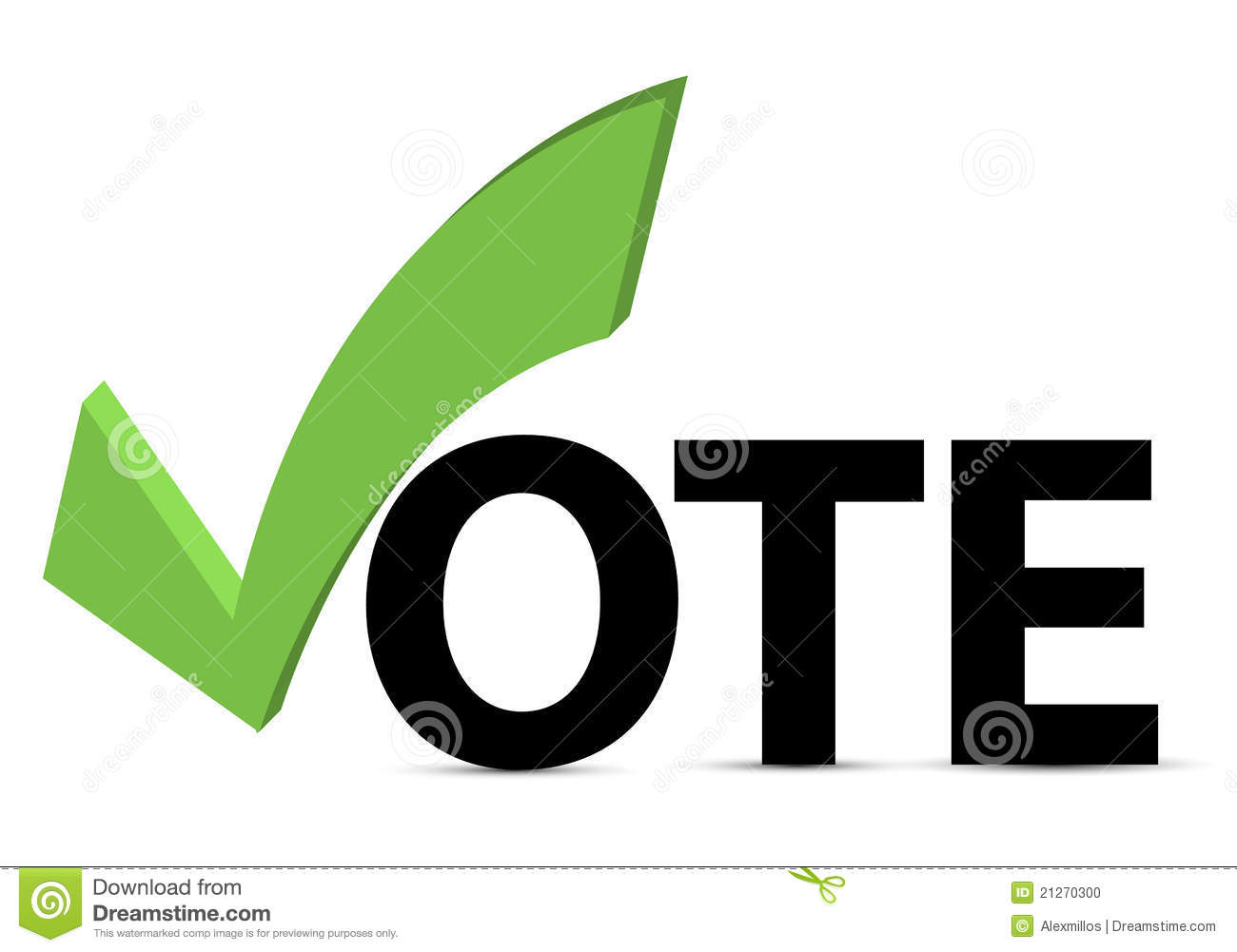 Vote Text With Check Mark And Check Box Stock Vector Illustration
