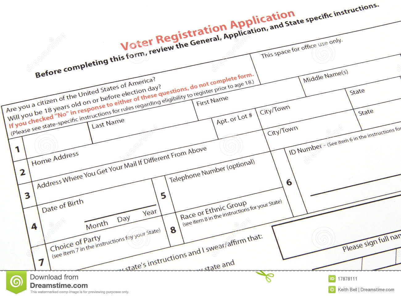 Voter registration form stock image image of register 17878111 voter registration form aiddatafo Images