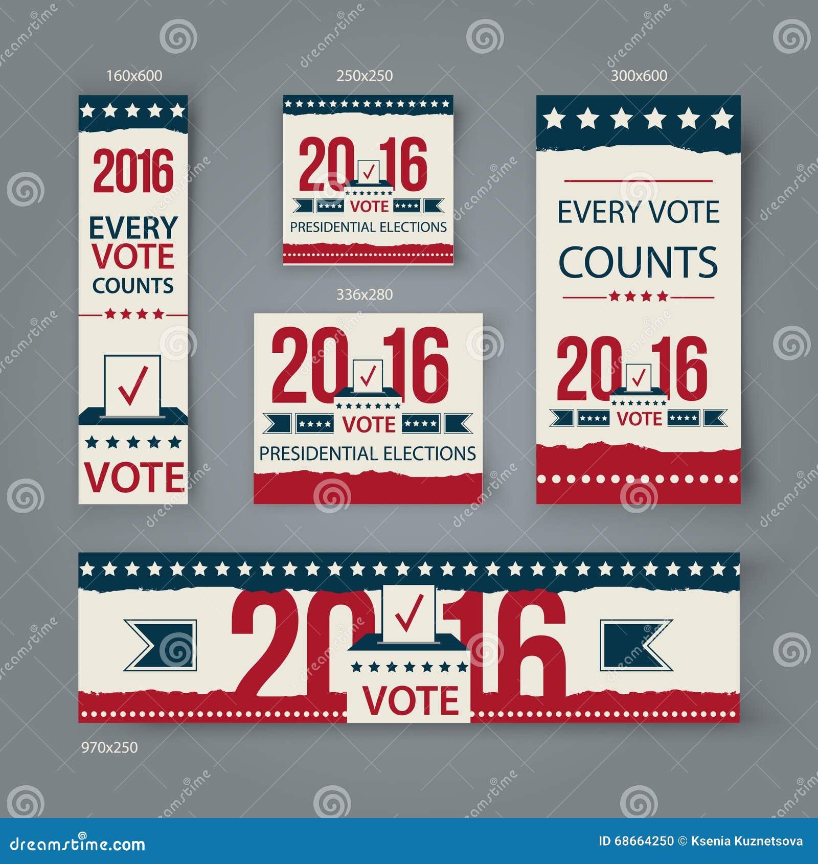voting banners vector set design us presidential election. Black Bedroom Furniture Sets. Home Design Ideas