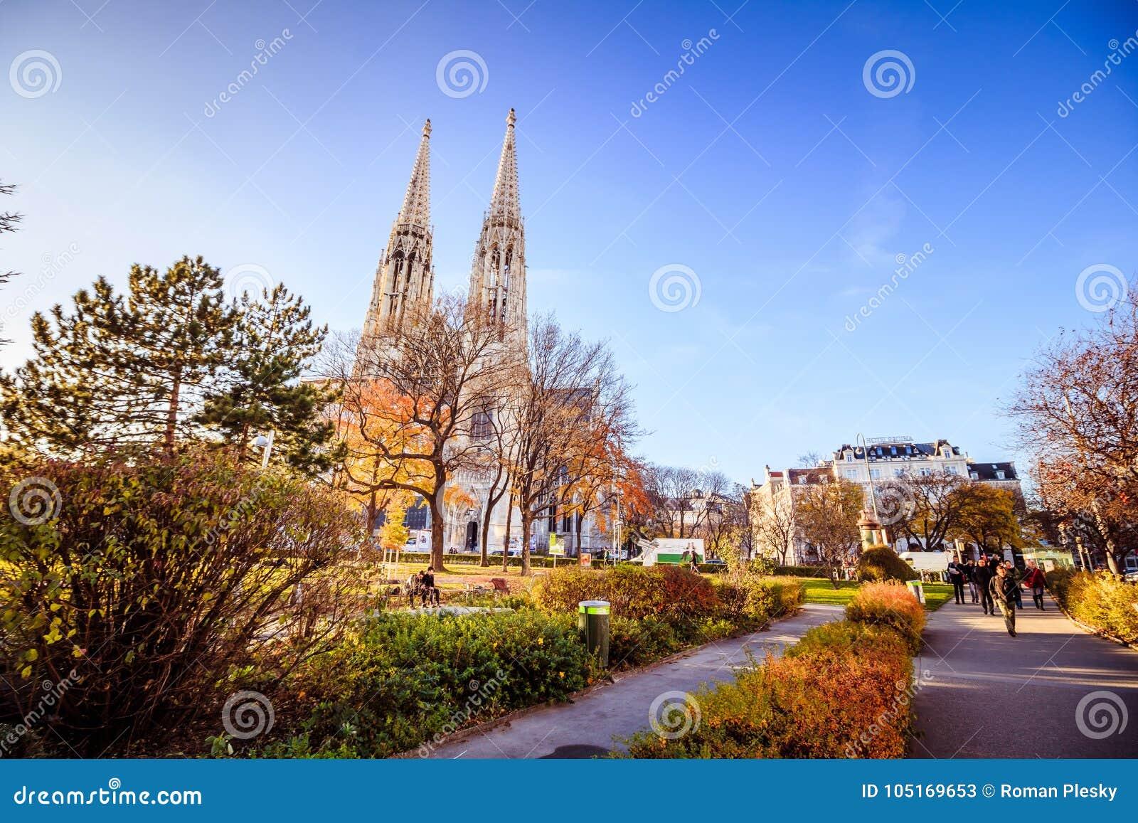 Votiv kościół w Sigmund Freud parku w Wiedeń, Austria