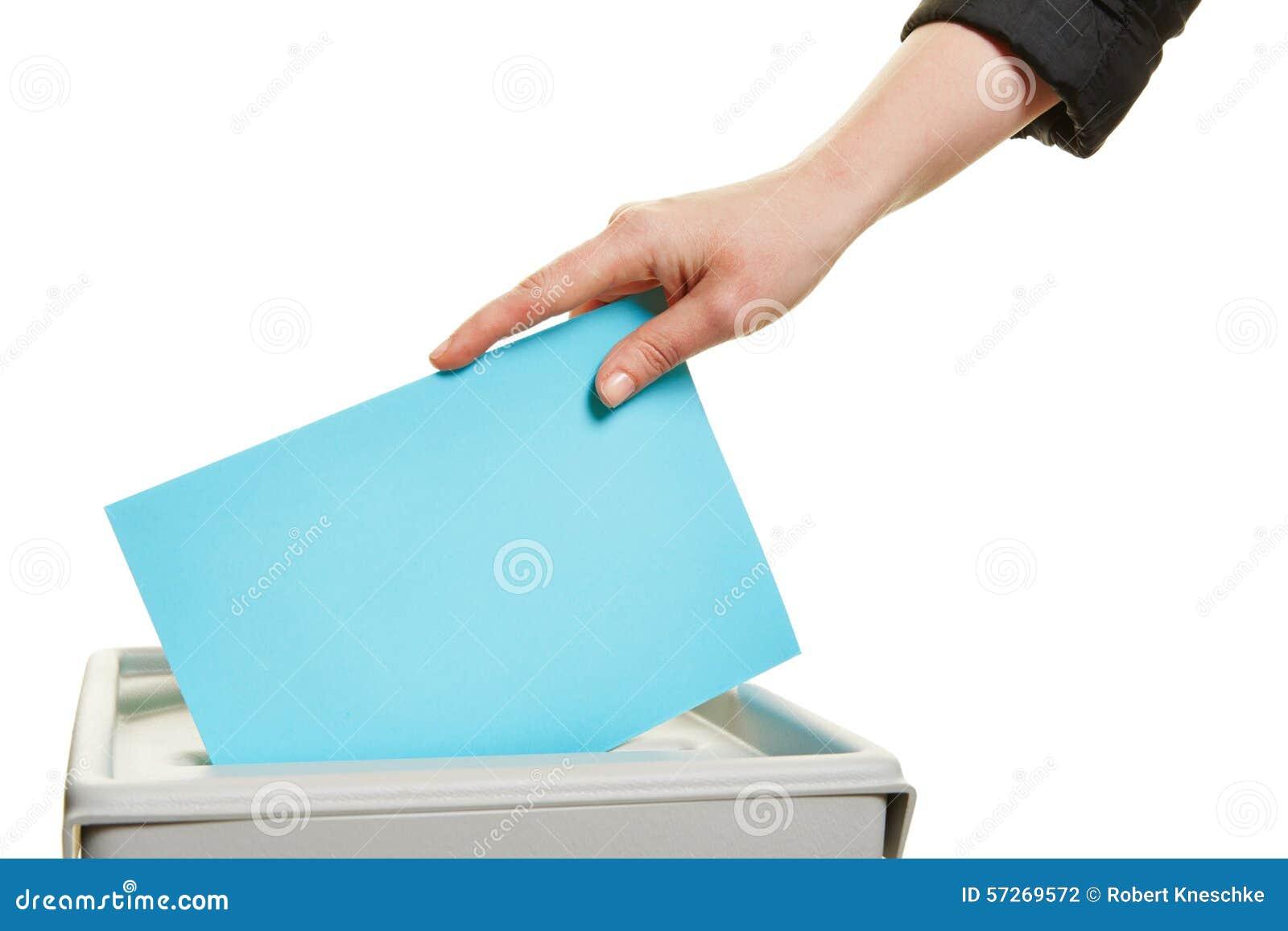 Voto de carcaça da mão na eleição