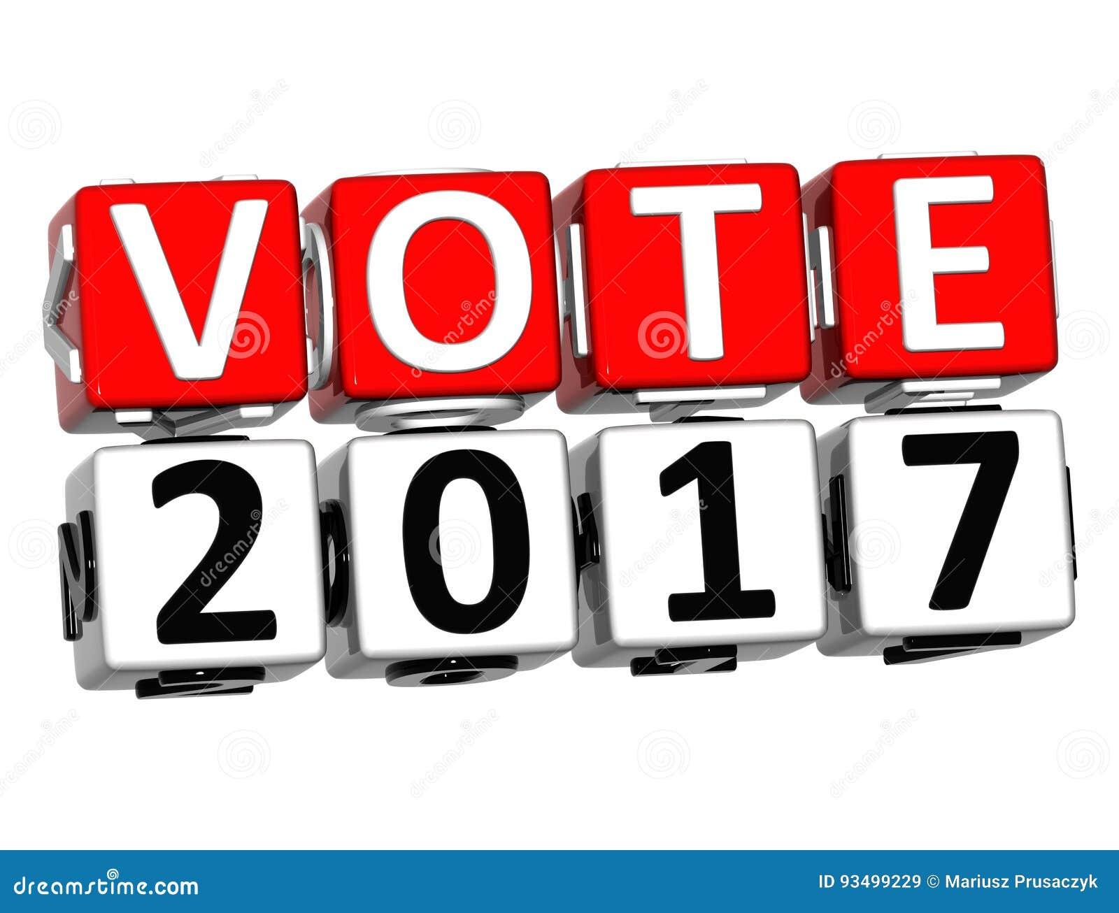 VOTO vermelho 2017 do texto do bloco 3D sobre o fundo branco