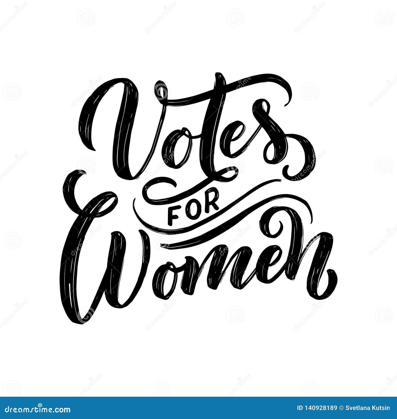 Votos para la mujer - letras de la cita Elemento de la tipografía del diseño gráfico de la inspiración de la caligrafía Postal es