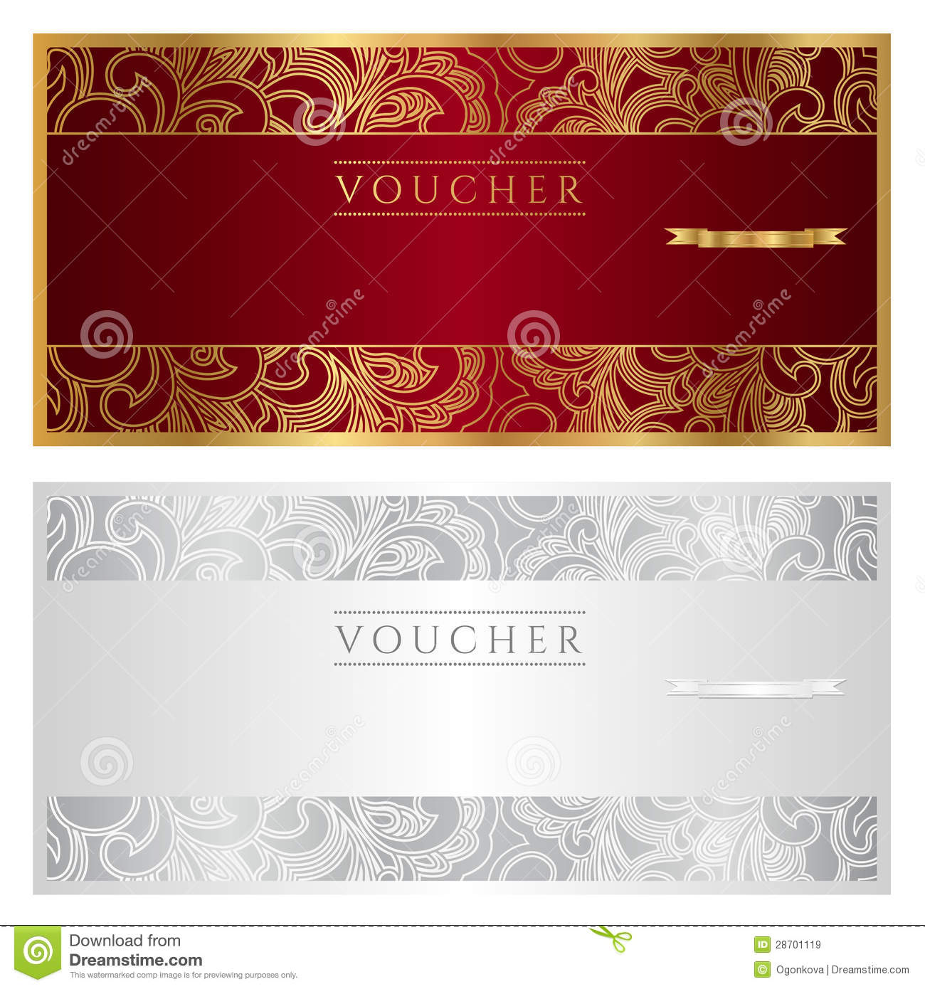 Voucher Coupon Gift Stock Vector Illustration Of Cheque 28701119