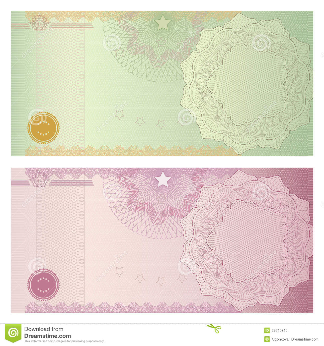 voucher coupon template with guilloche pattern vector illustration