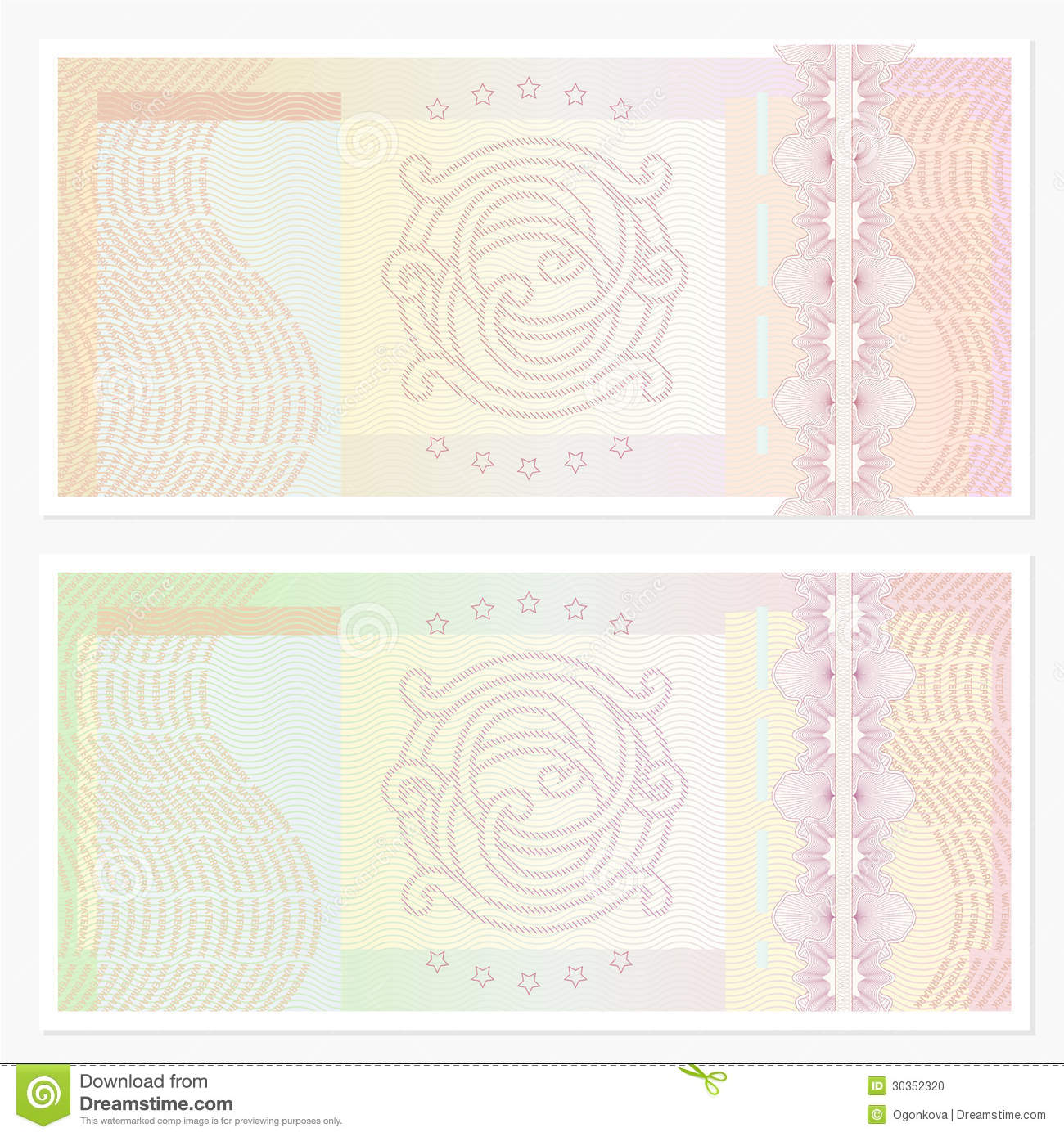 Voucher  coupon  Template With Guilloche Pattern Stock
