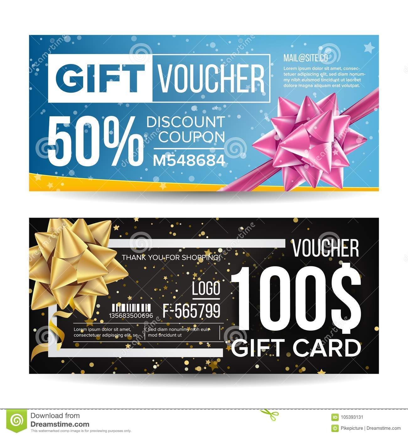 gift voucher colorful certificate coupon design  vector