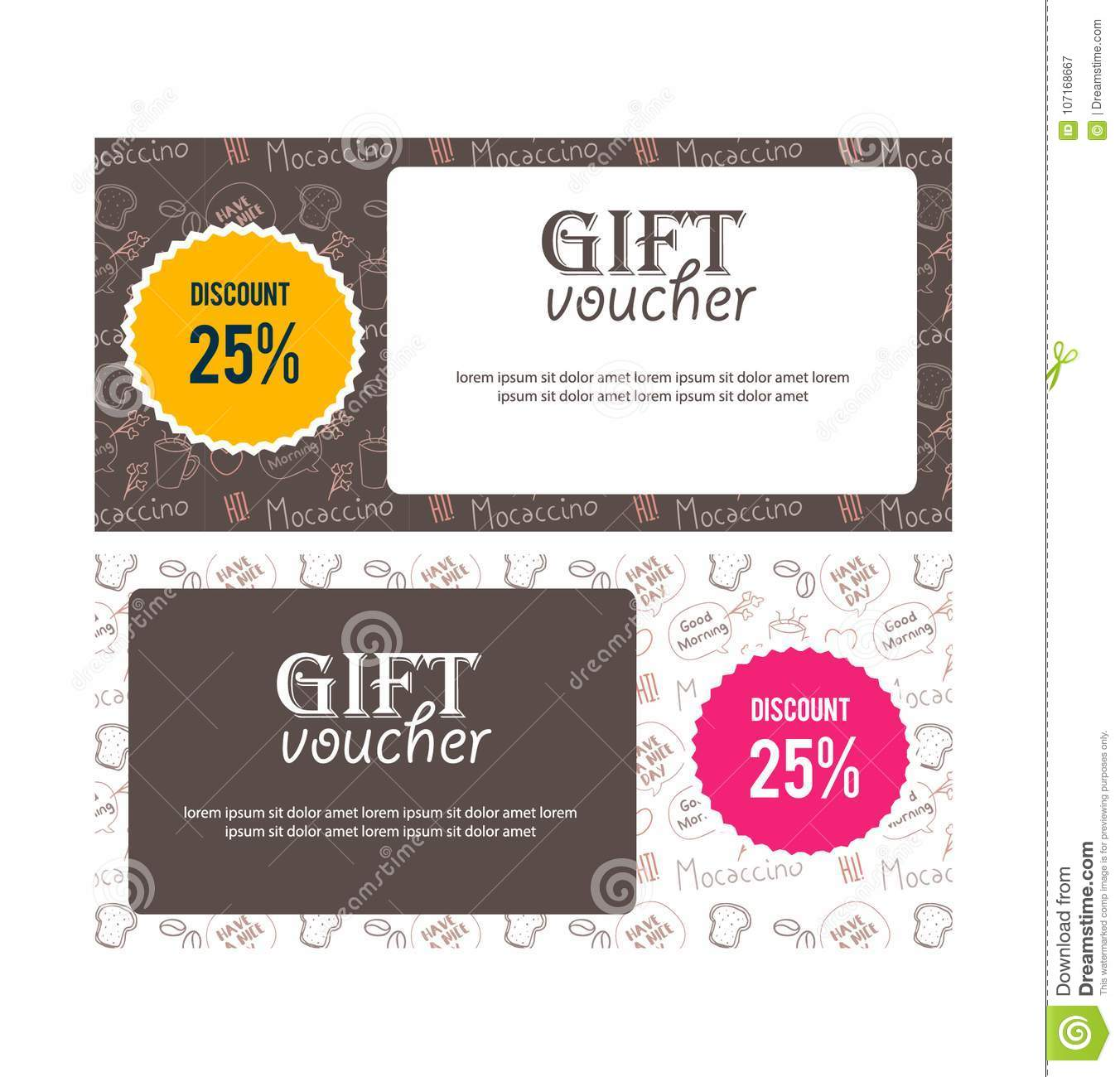 voucher gift banner illustration for restaurant or food website coupon voucher placard