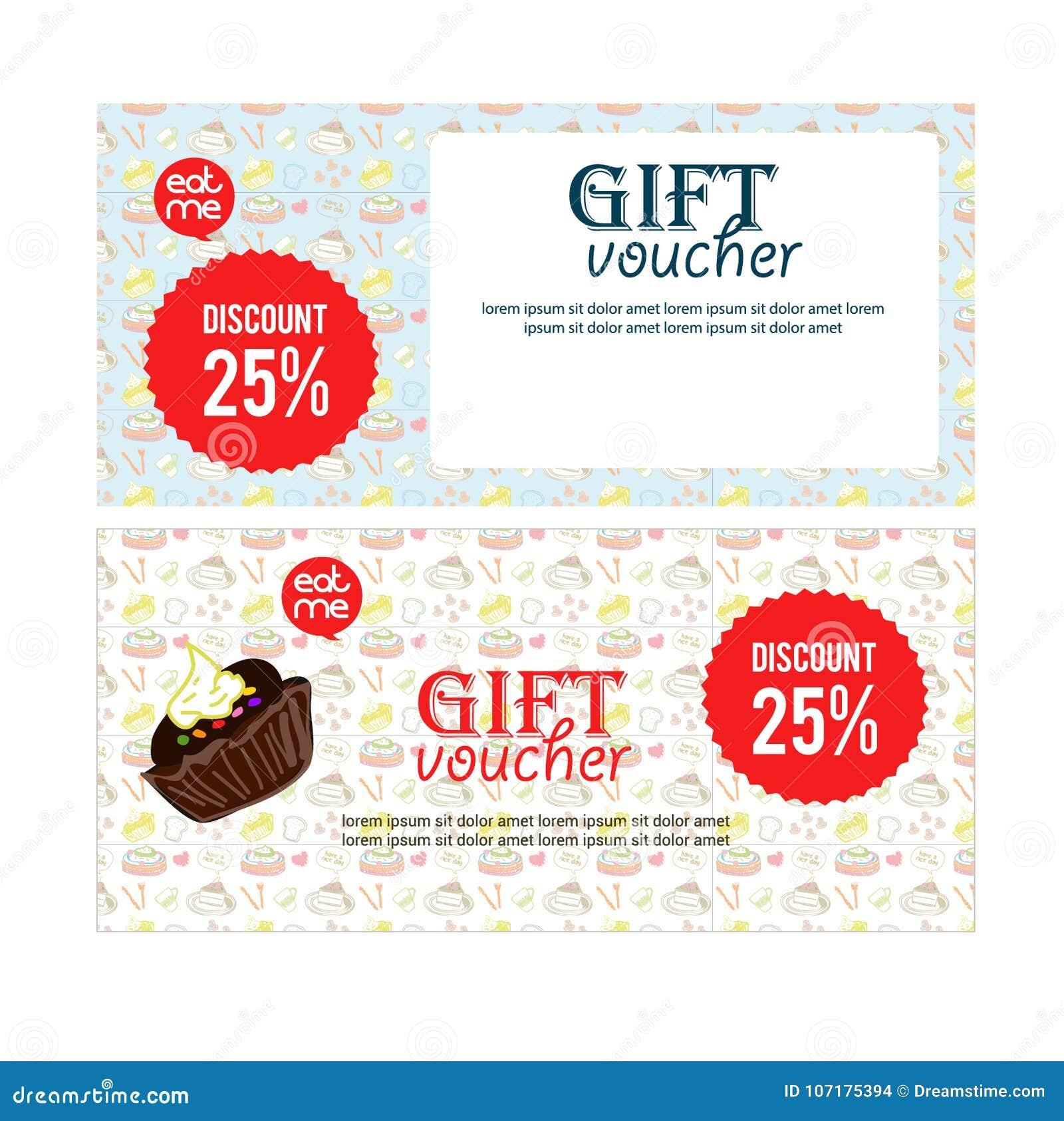 voucher gift banner illustration for restaurant or food website