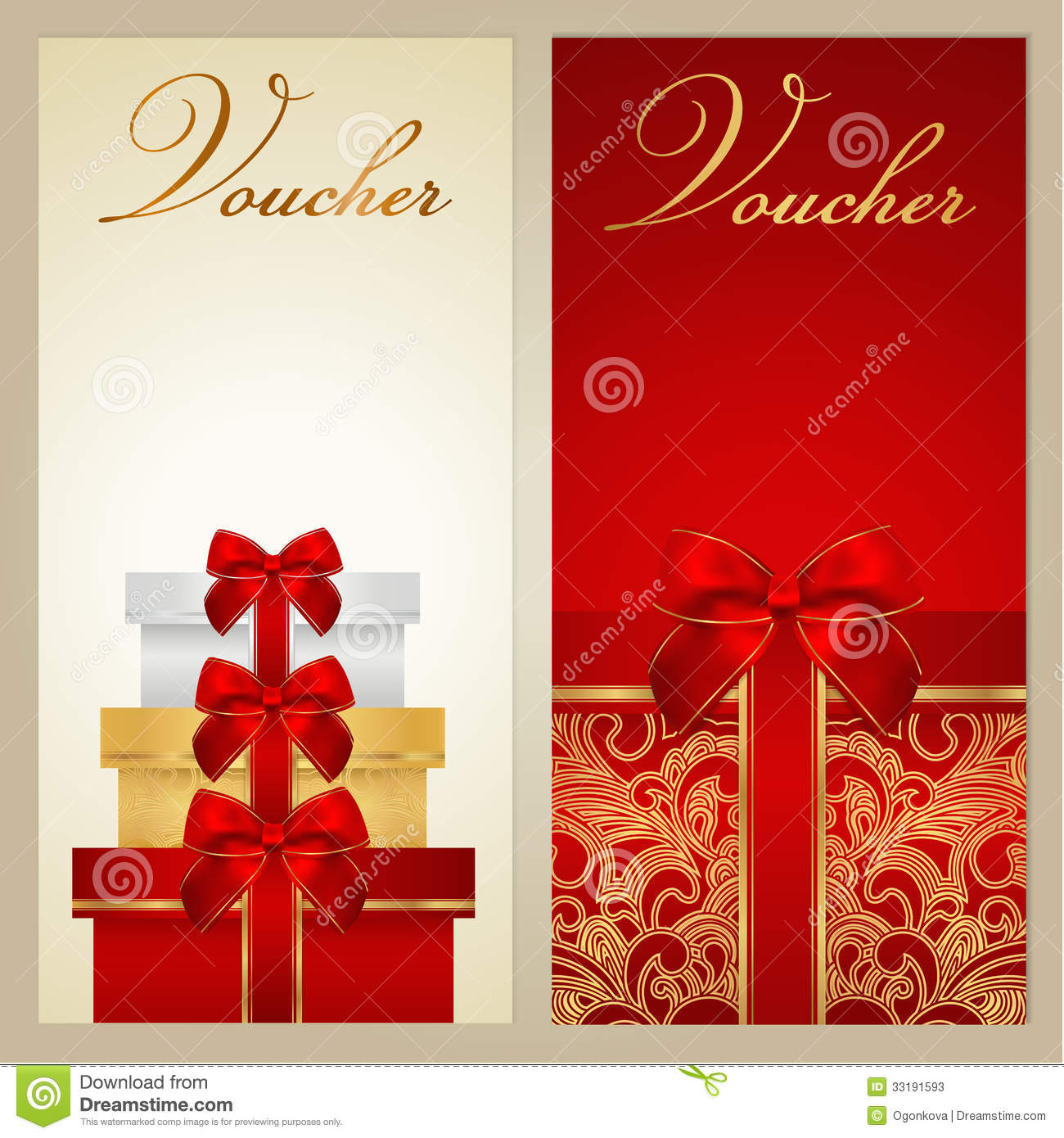 Voucher, Gift Certificate, Coupon. Boxes, Bow  Christmas Gift Vouchers Templates