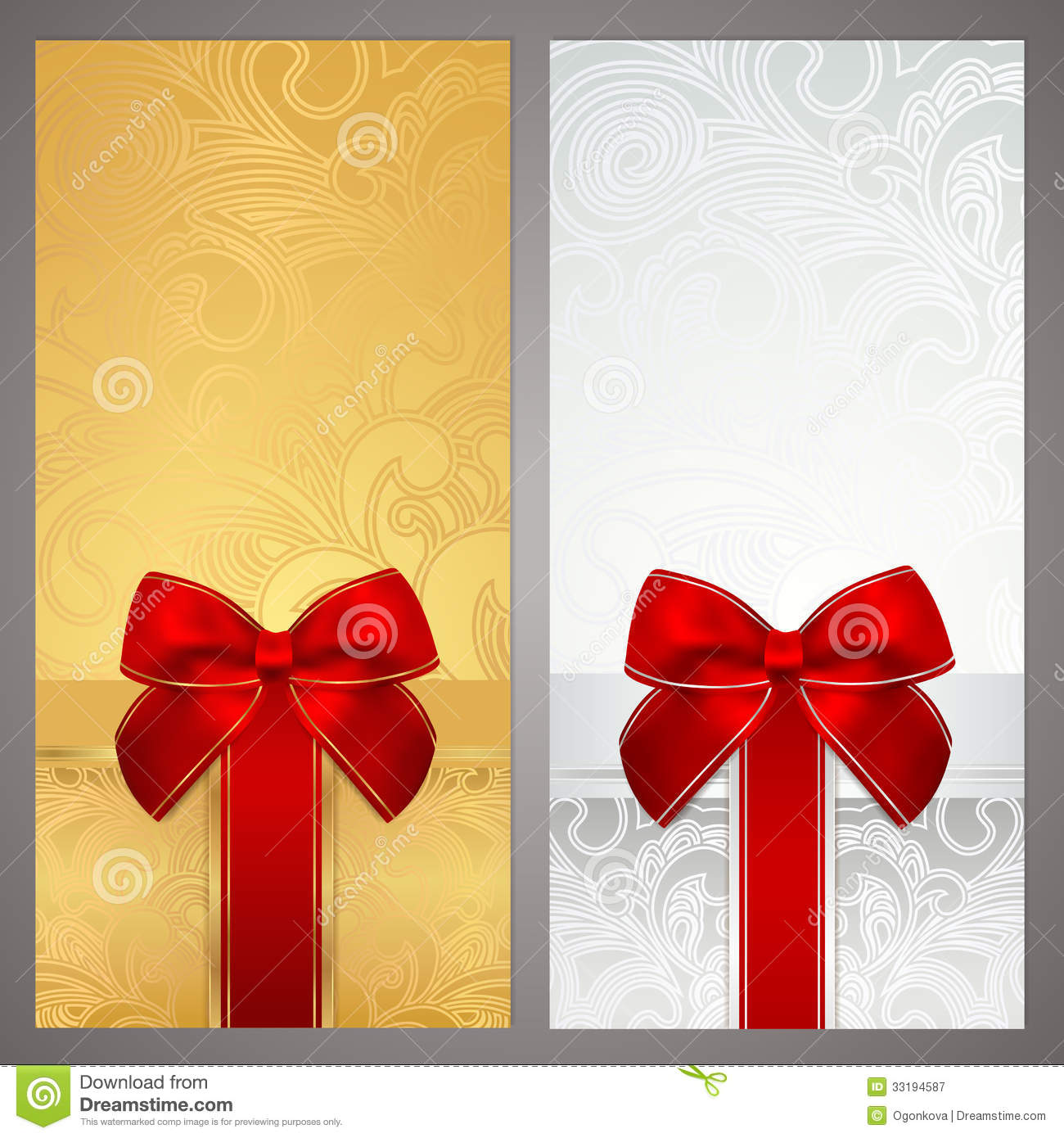 Voucher Gift Certificate Coupon Boxes Bow Royalty Free – Christmas Gift Certificates Free