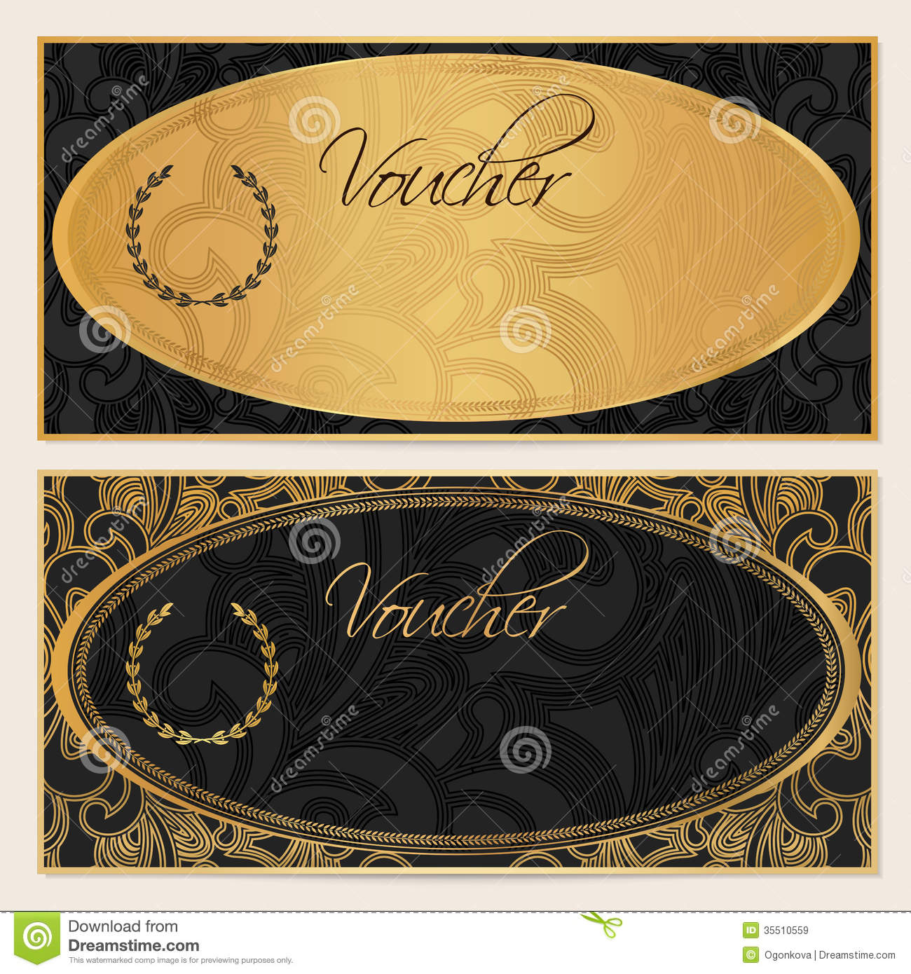 Voucher Gift Certificate Coupon Template Black Royalty Free – Ticket Voucher Template