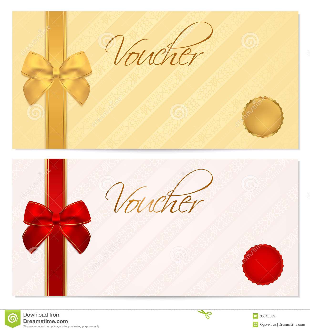 Voucher Gift Certificate Coupon Template Bow Royalty Free – Template for a Voucher