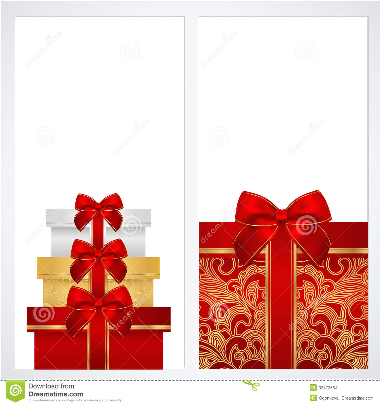 Voucher, Gift Certificate, Coupon Template. Box Stock Images ...