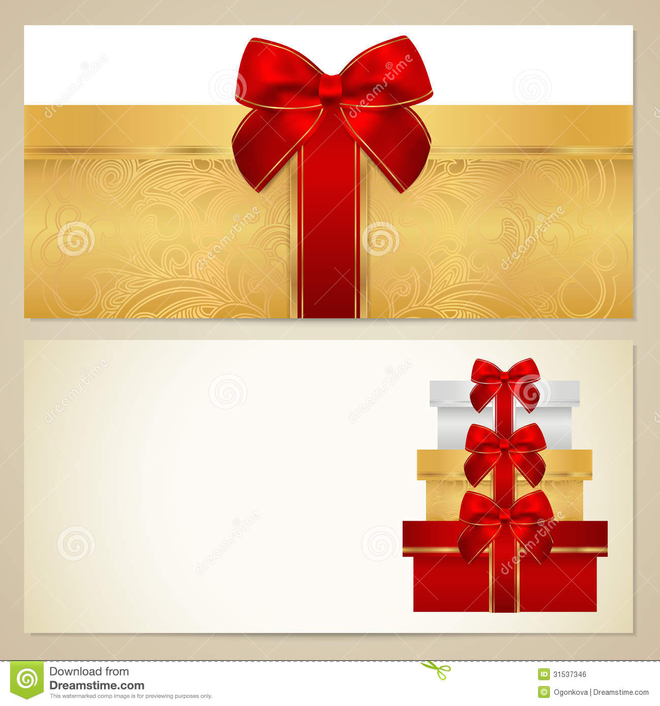 Voucher (Gift Certificate, Coupon) Template. Boxes Royalty Free Stock Image - Image: 31537346
