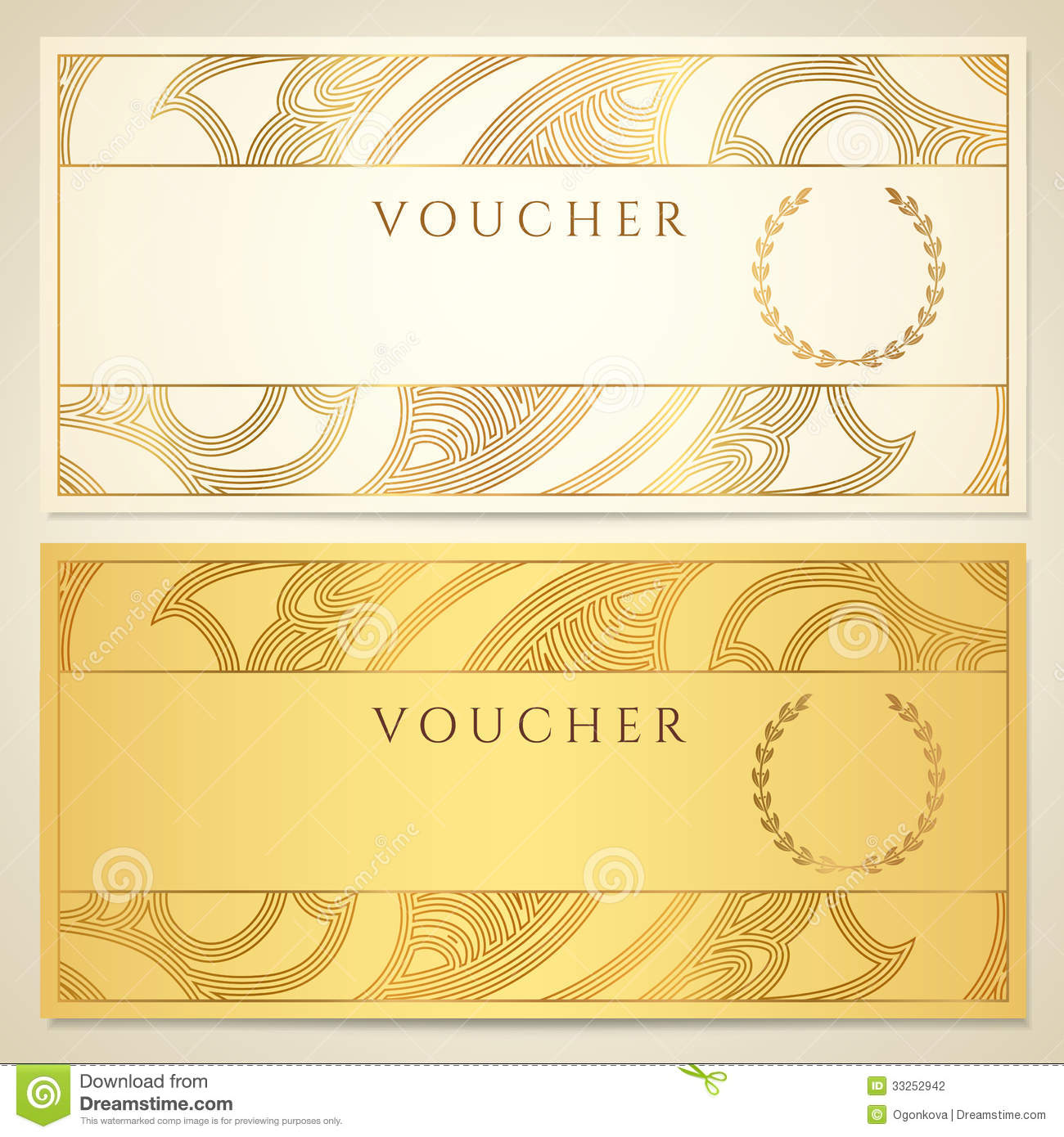 Voucher Gift Certificate Coupon Template Stock Vector
