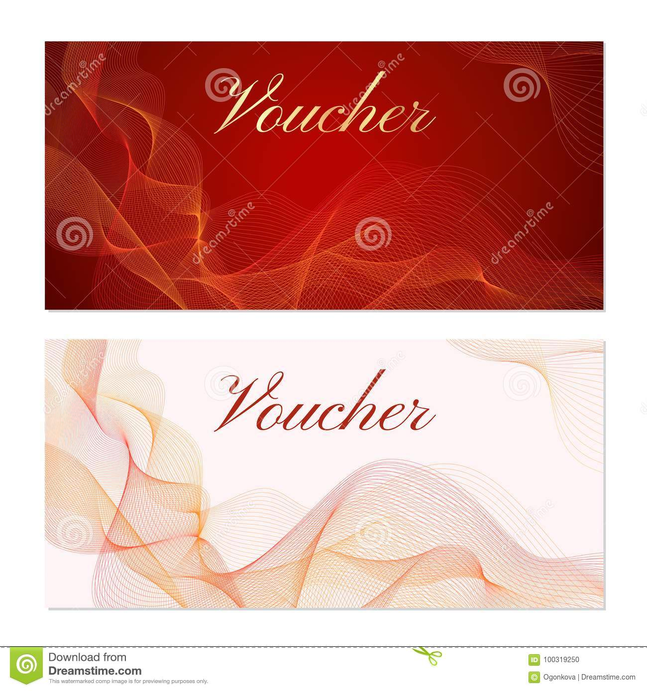 Voucher, Gift Certificate, Coupon Template  Guilloche Pattern