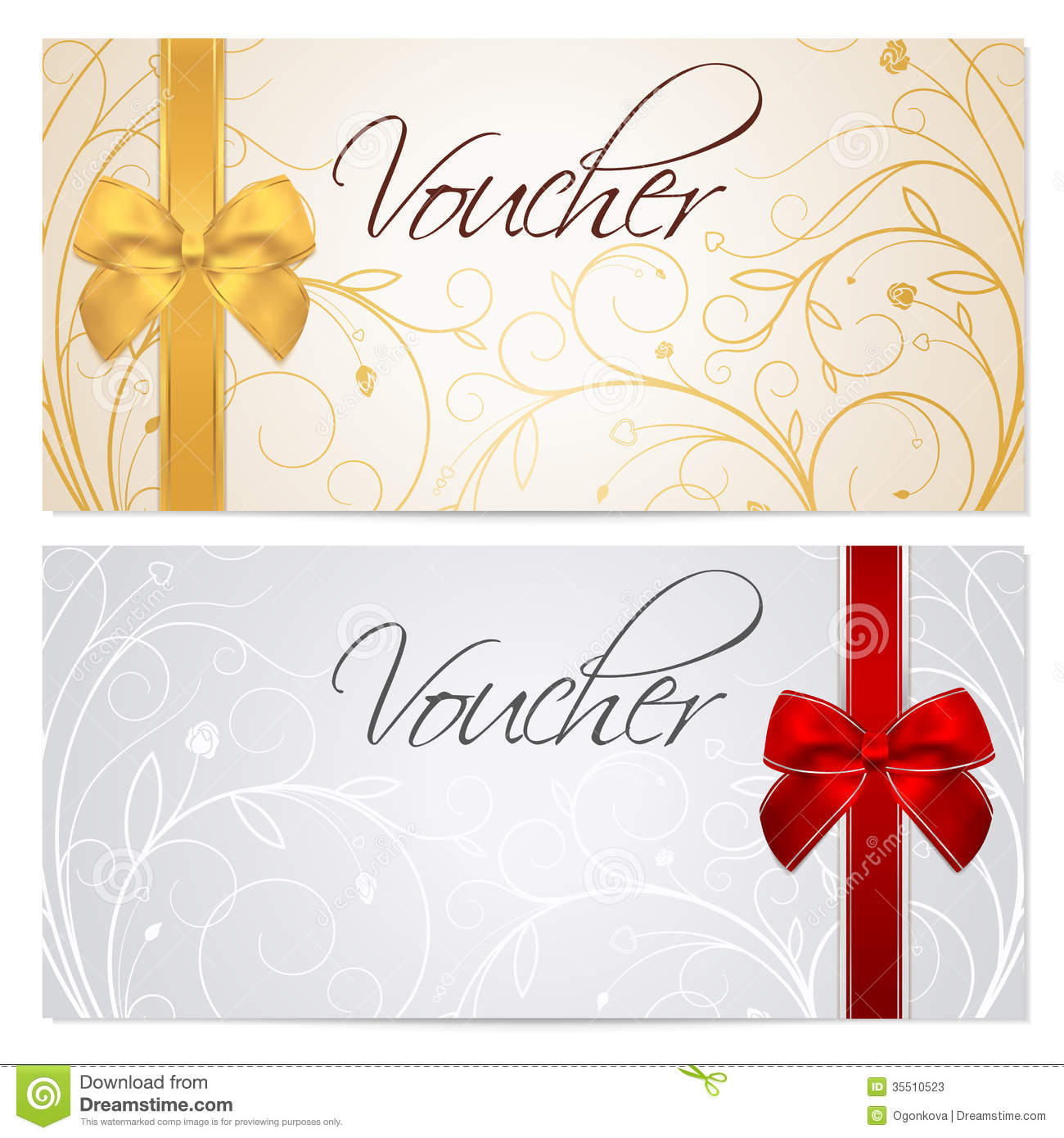 voucher gift certificate coupon template red b stock vector