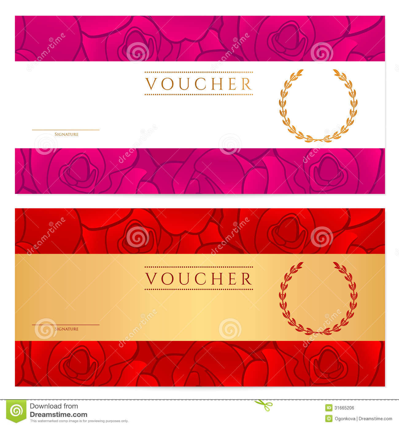 Voucher gift certificate coupon template rose stock vector voucher gift certificate coupon template rose yelopaper Image collections