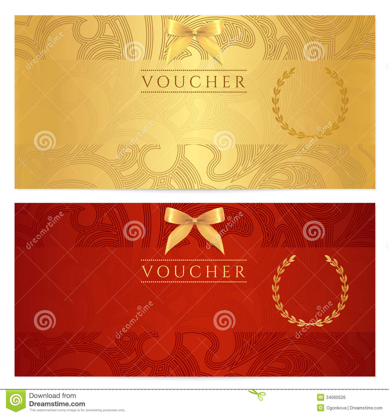 Voucher Gift Certificate Coupon Ticket Pattern Royalty