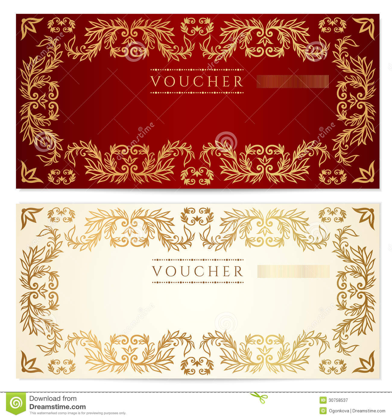 Voucher (gift Certificate) Template. Gold Pattern Stock ...