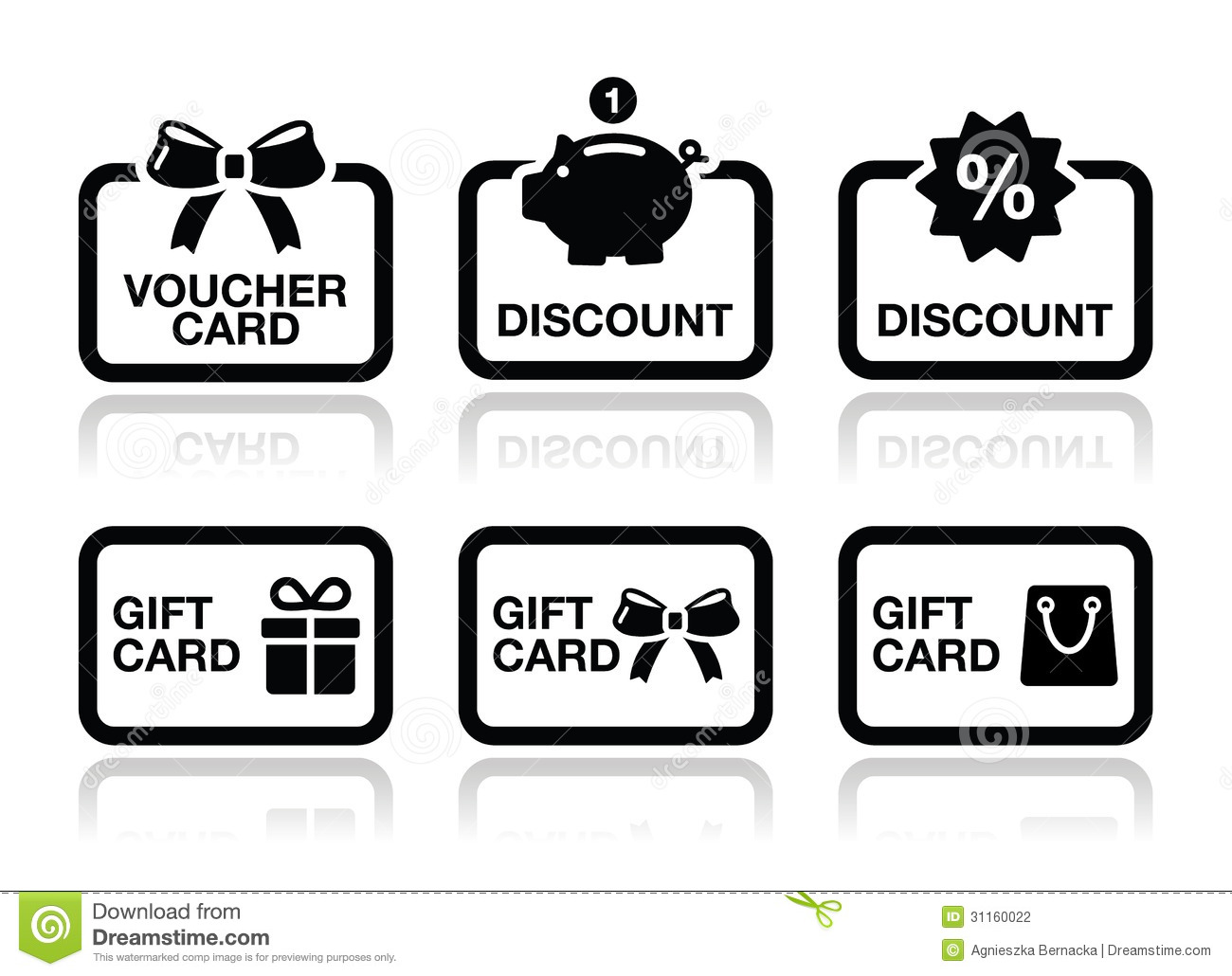 Voucher, Gift, Discount Card Vector Icons Set Stock Photography ...