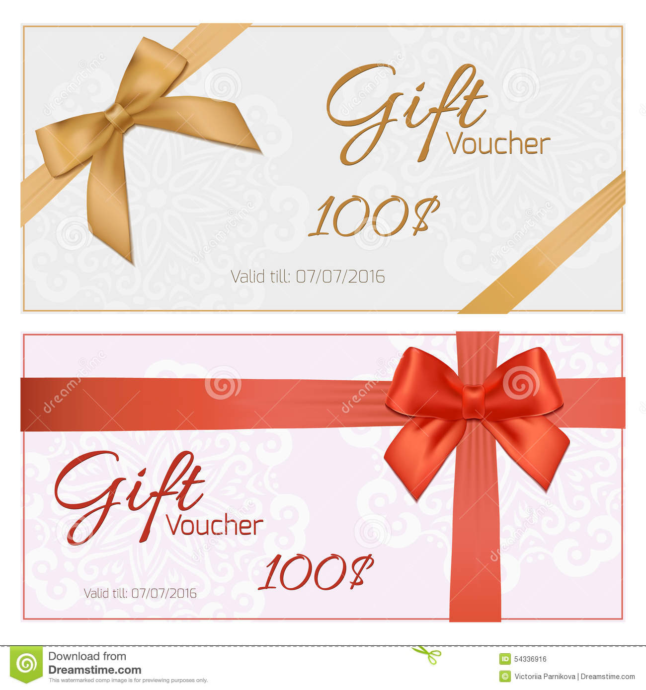 voucher template with floral pattern  border  red and gold