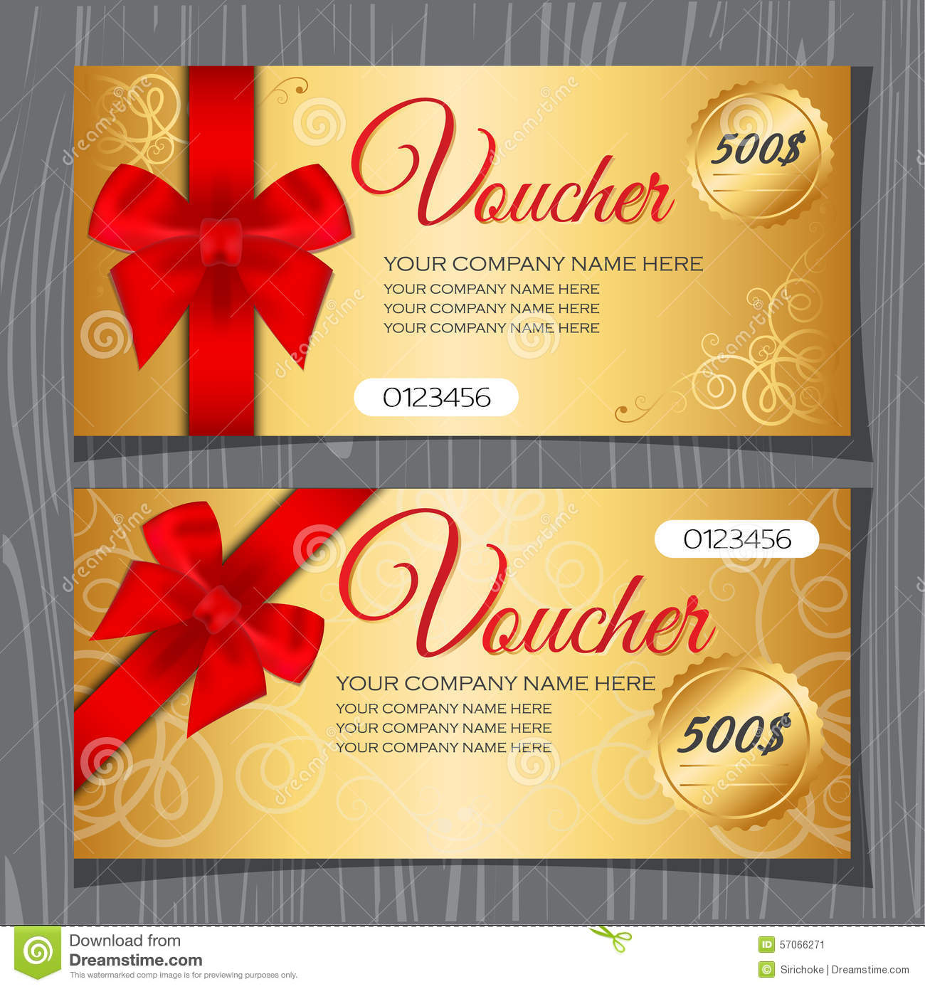 Voucher template, Gift certificate, Coupon template with bow and ...