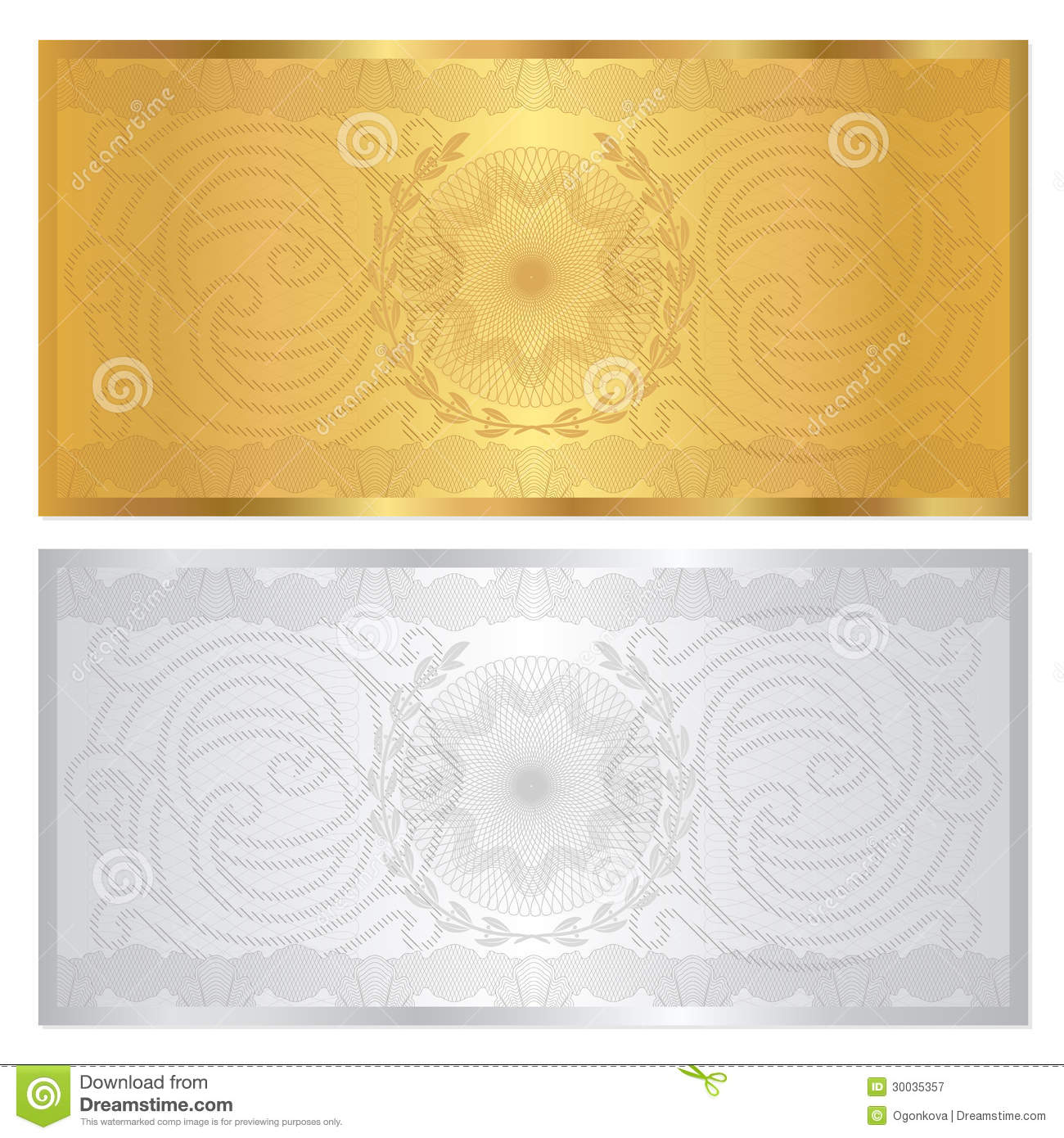 Voucher template with guilloche pattern (watermarks) and border. This ...