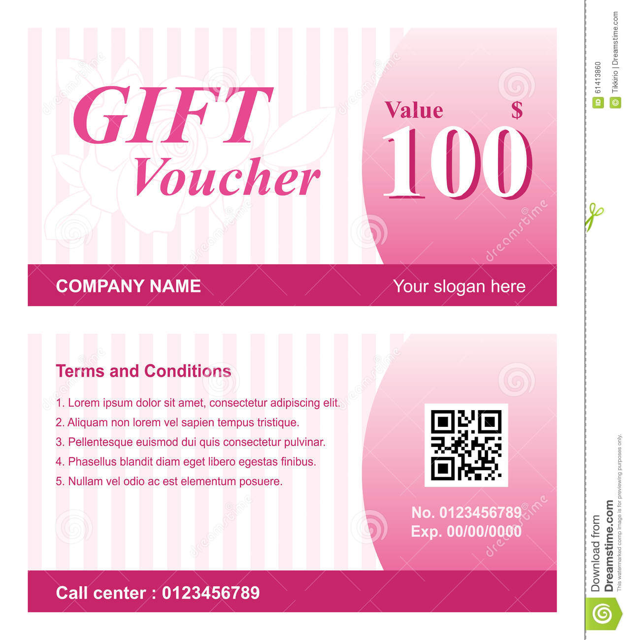 Voucher Template With Rose Background Stock Vector