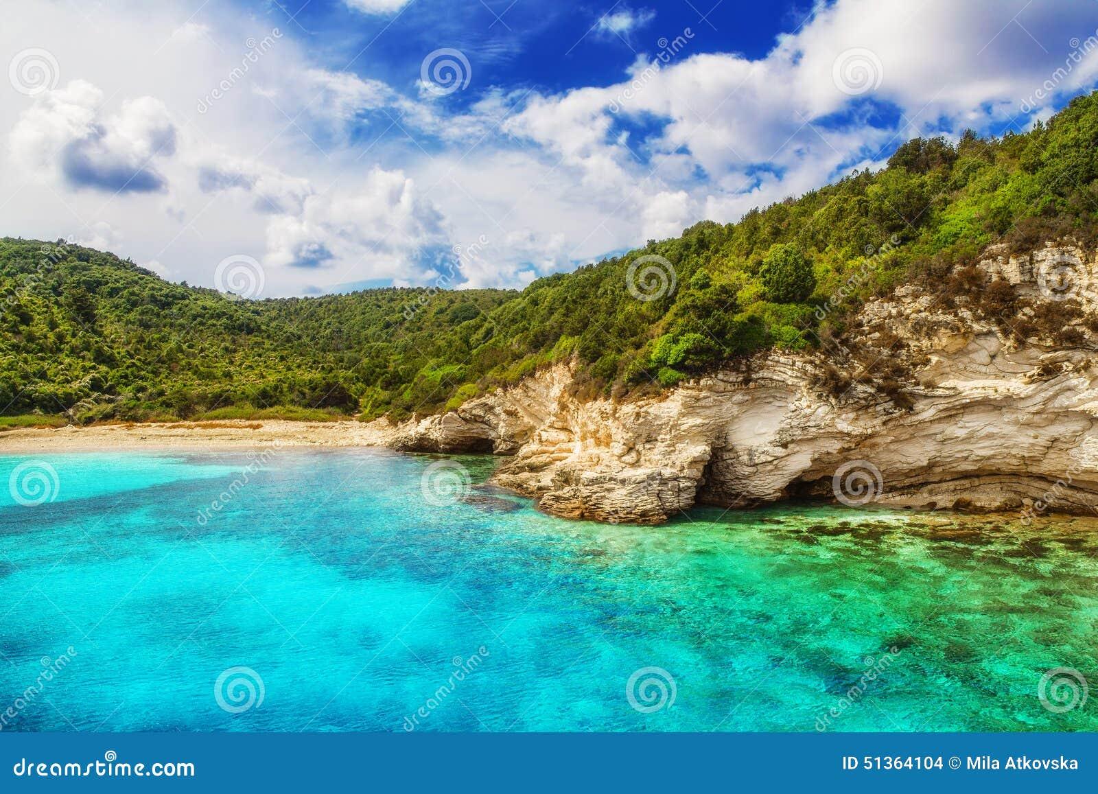 Voutoumi Strand Antipaxos Griechenland Stockfoto Bild Von Europa