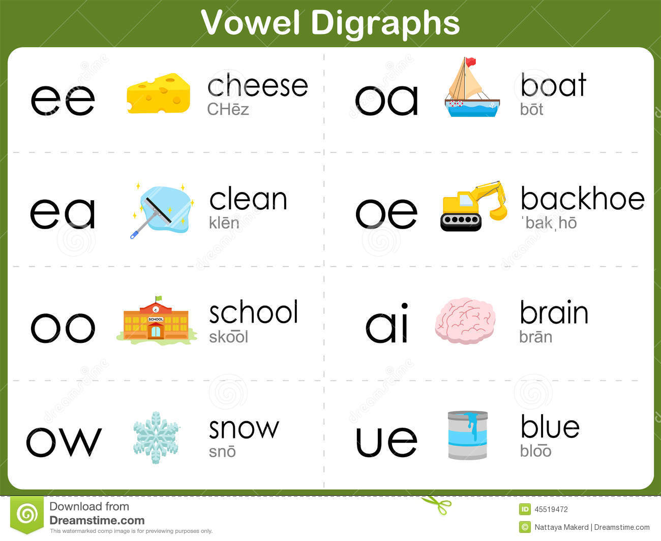 Worksheets Vowel Digraphs Worksheets vowel digraphs worksheet for kids stock vector illustration of kids