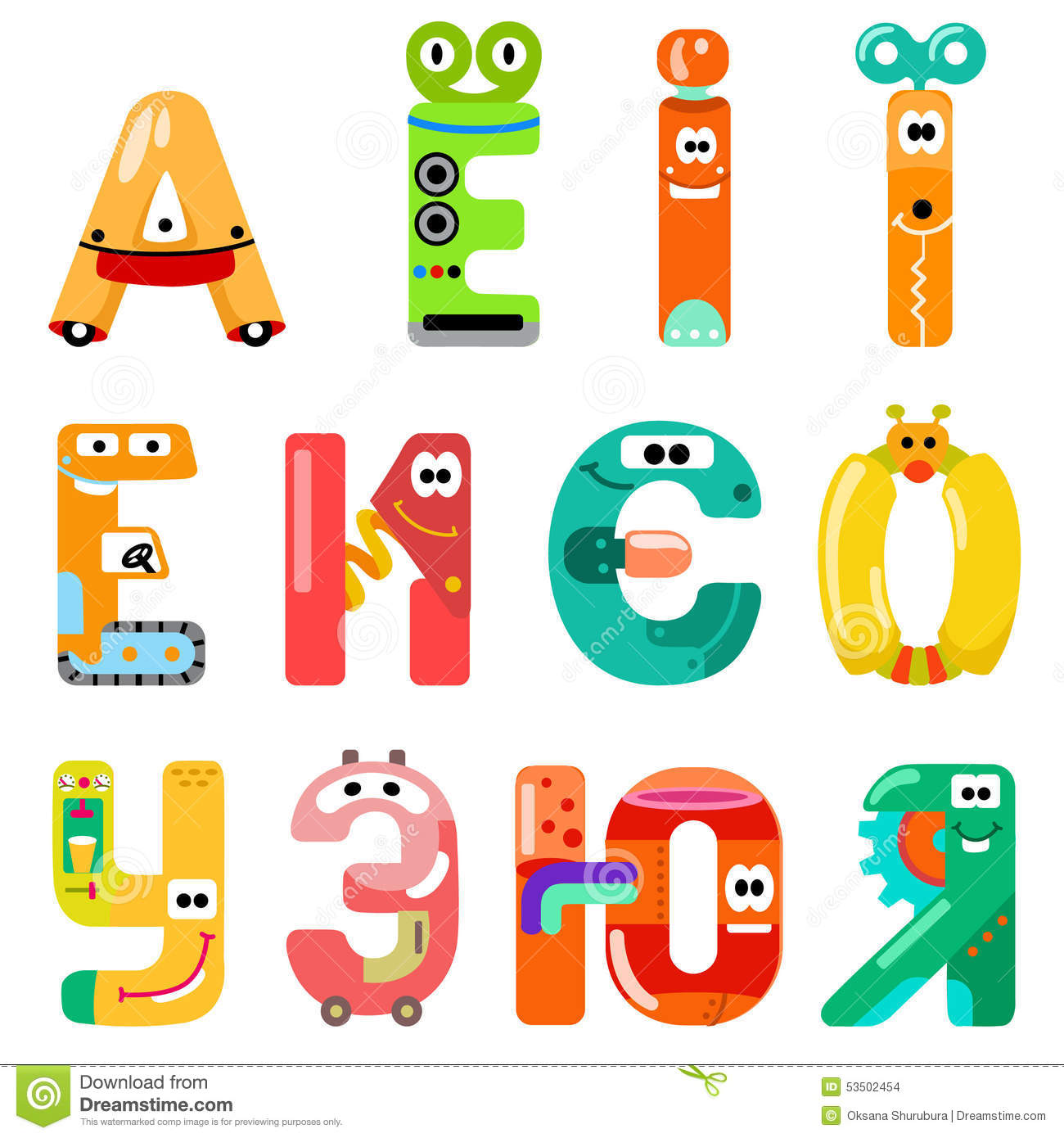 Vowels Of The Latin Alphabet Like Different Robots Stock Vector