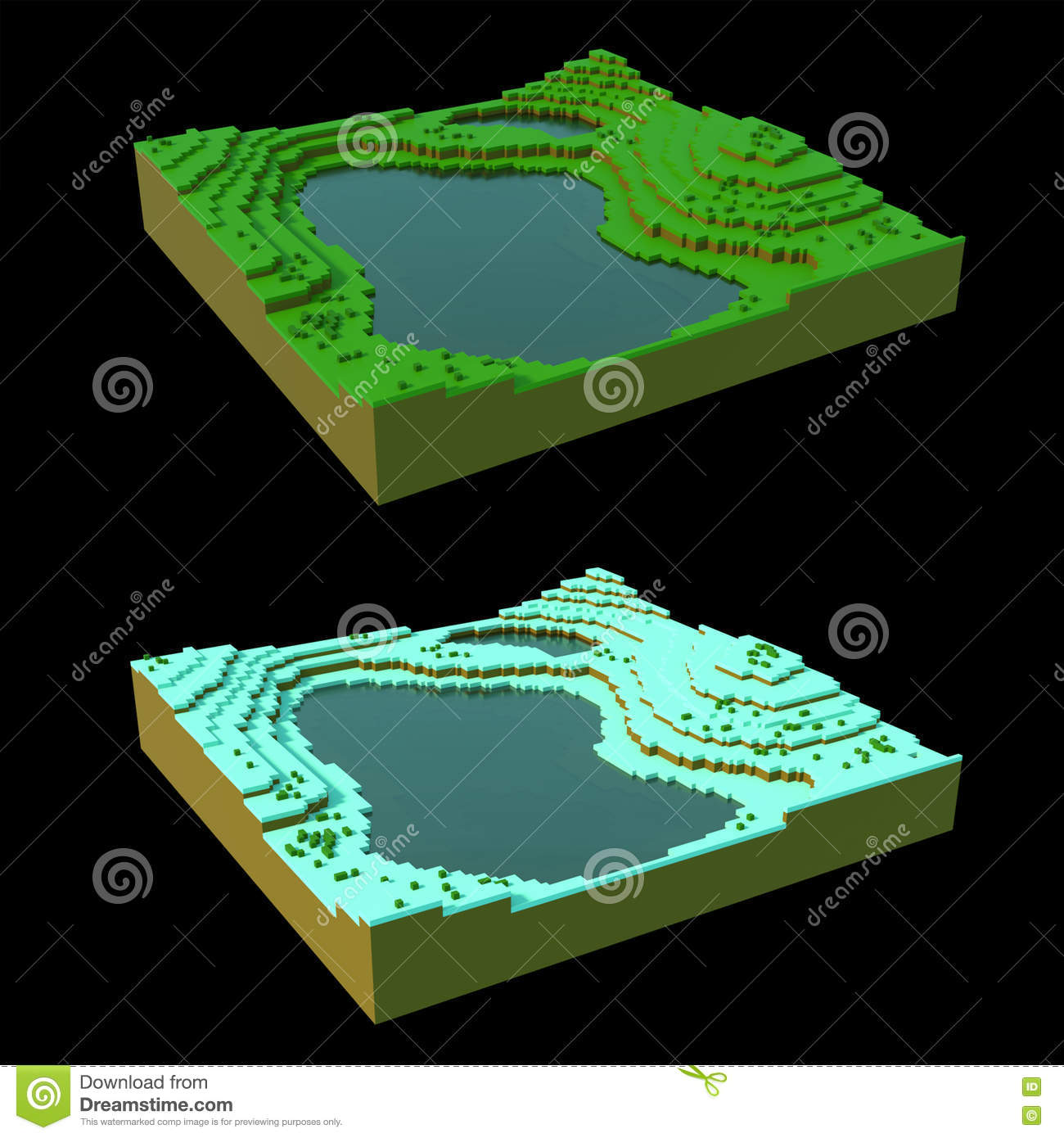 More similar stock images of 3d landscape with fall tree - Voxel Landscape In Two Seasons Stock Photography
