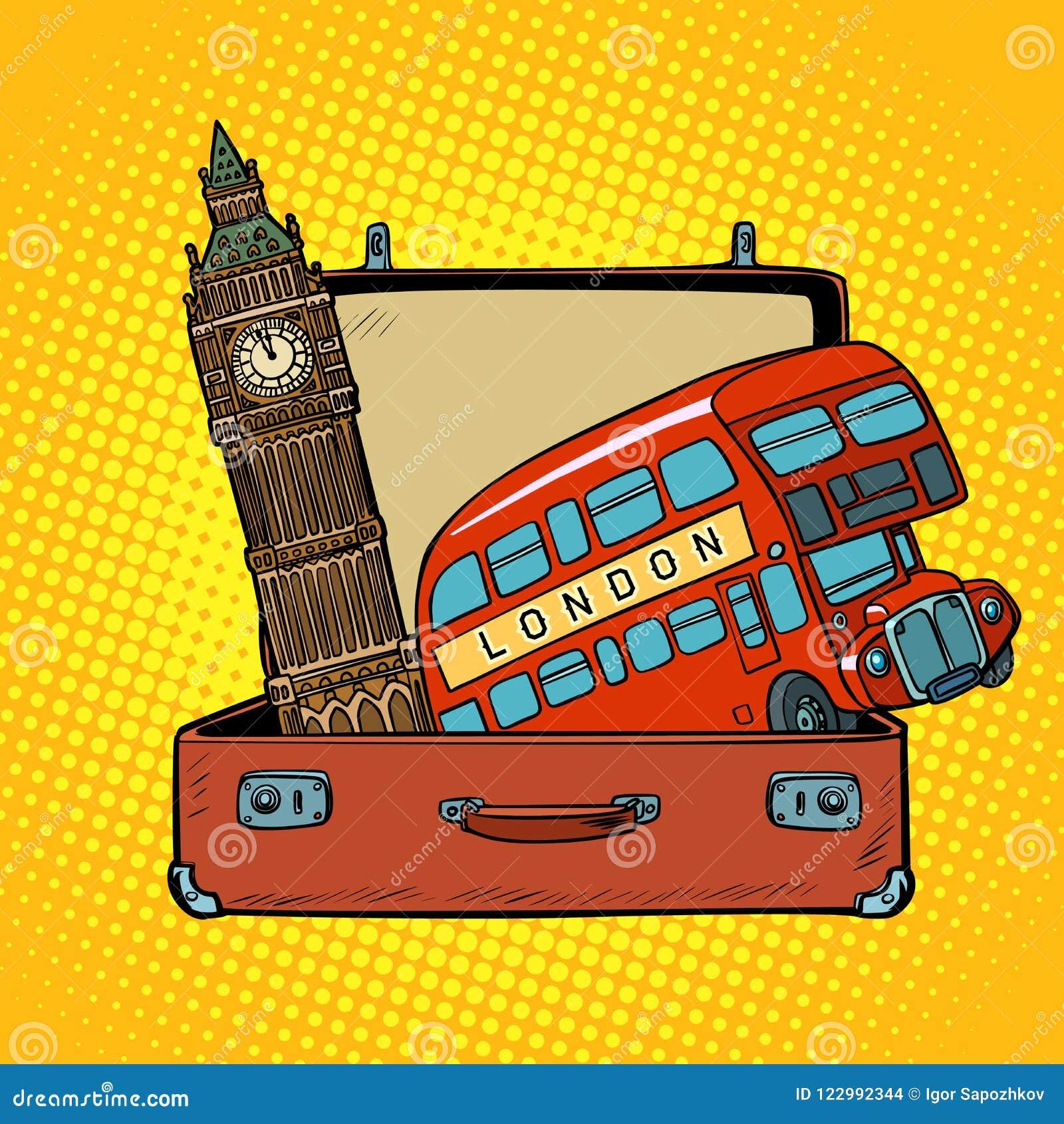 Voyage au concept de l Angleterre Valise avec des vues de Londres