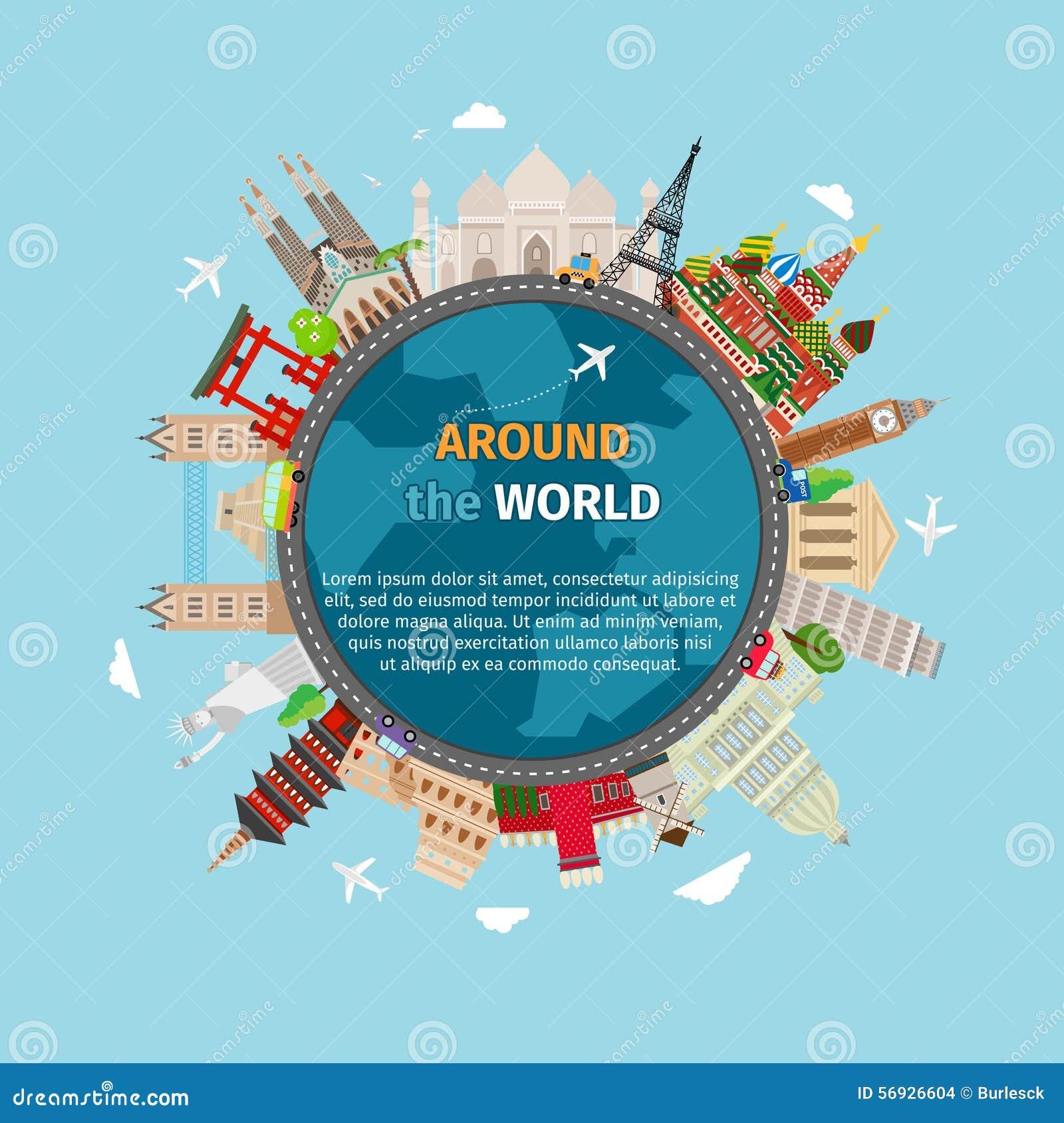 Voyage autour de la carte postale du monde illustration de for Decoration voyage autour du monde