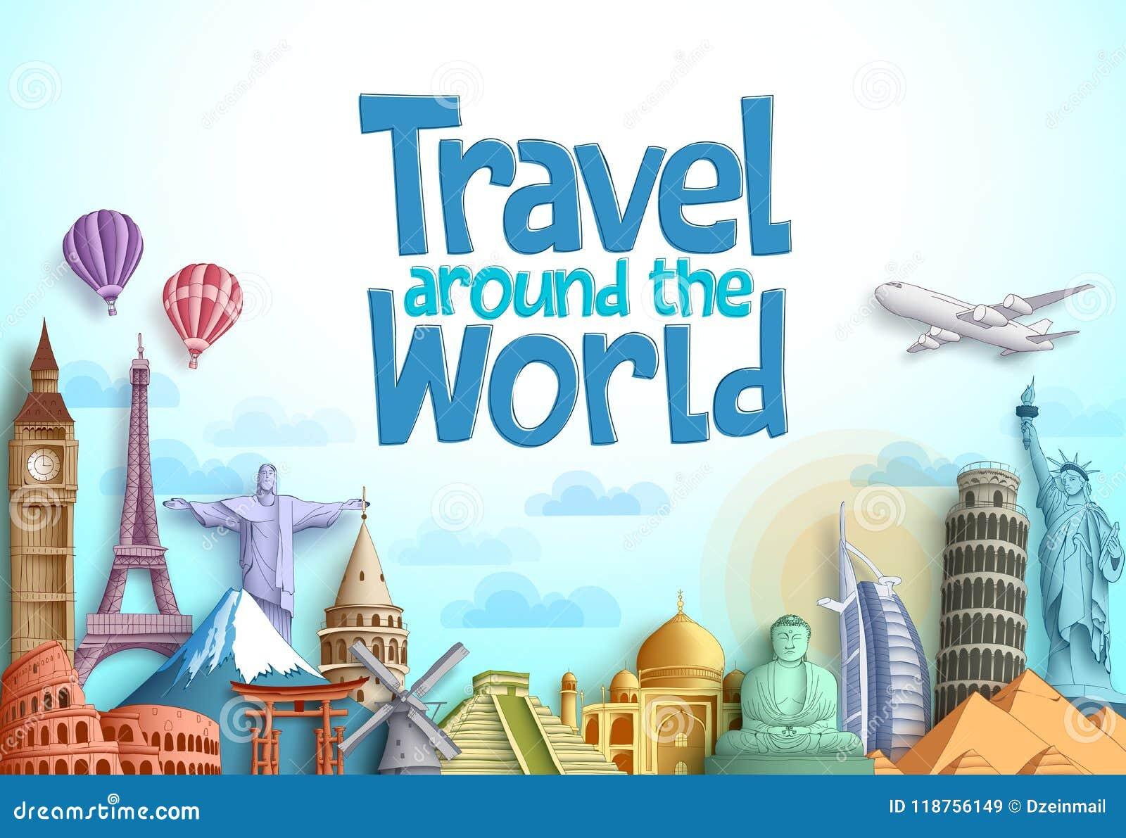 Voyage autour de la conception de vecteur du monde avec les points de repère célèbres et la destination de touristes de différent