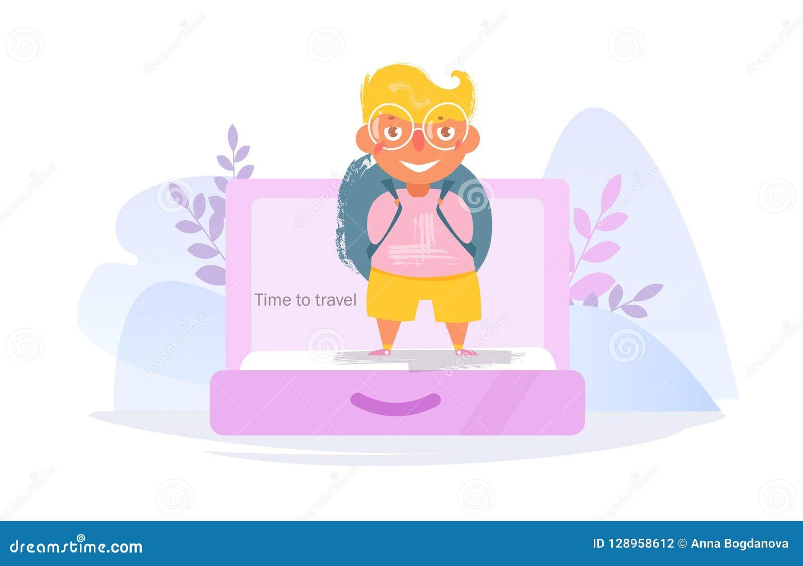 Voyage Concept Aller sur la route Vecteur de valise cartoon Art d isolement sur le fond blanc plat