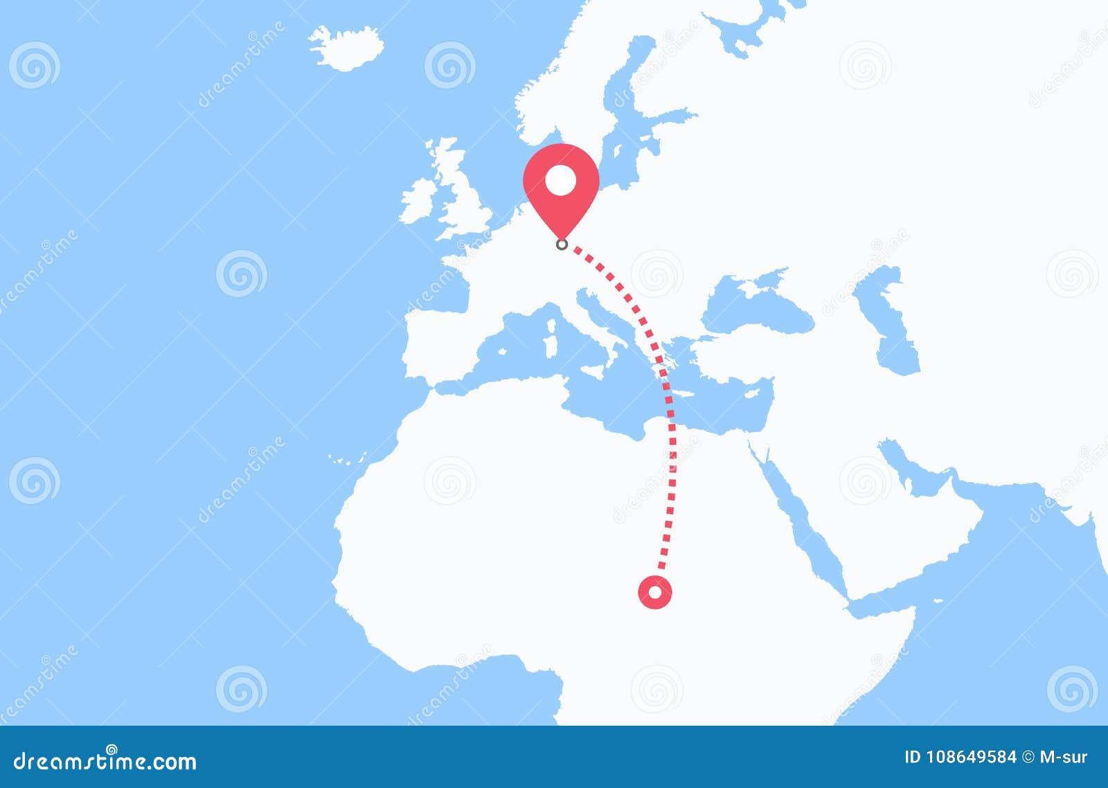 Carte Afrique Europe.Voyage D Afrique Vers L Europe Illustration De Vecteur