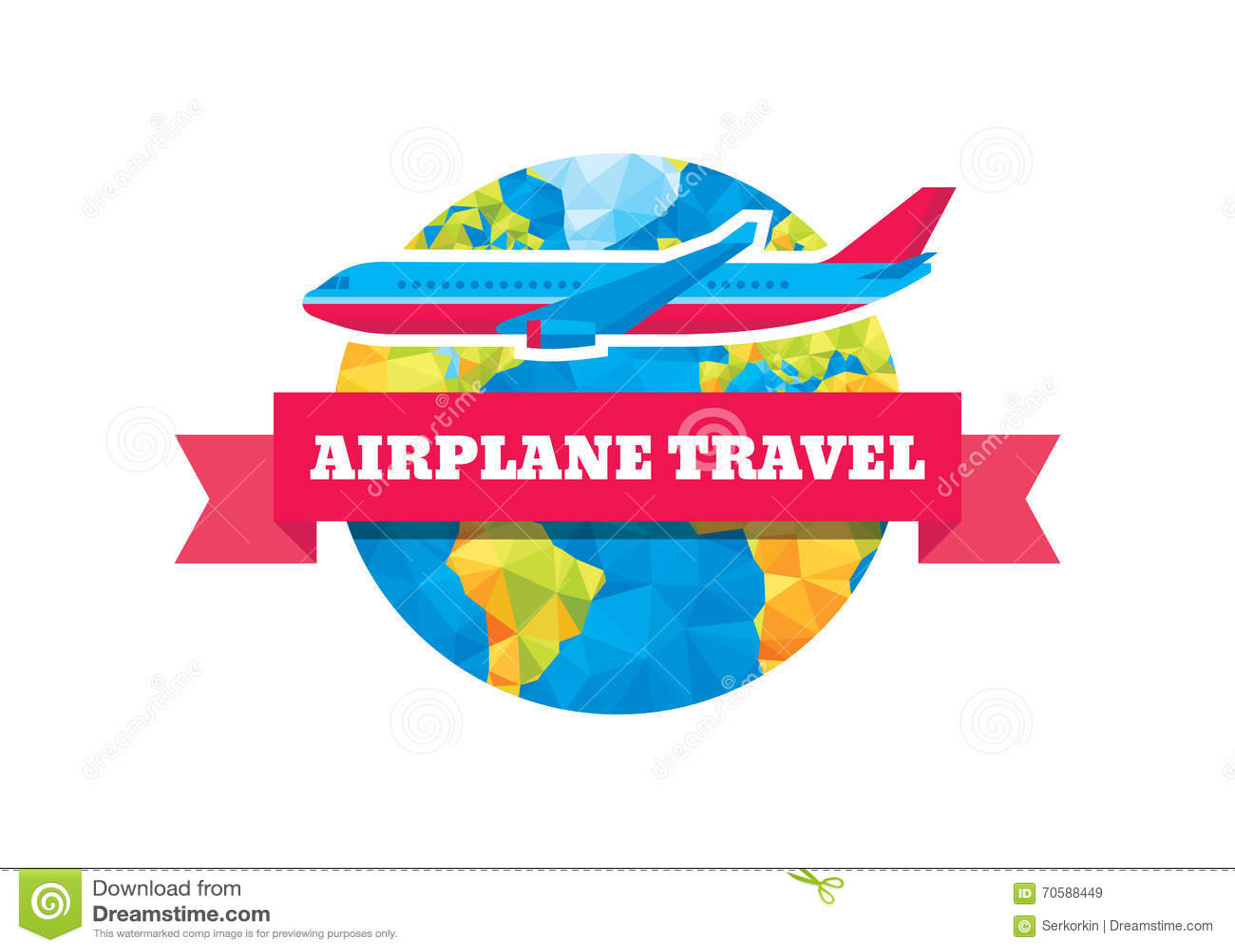 Voyage d avion - illustration de concept de vecteur Globe, ruban et avions abstraits