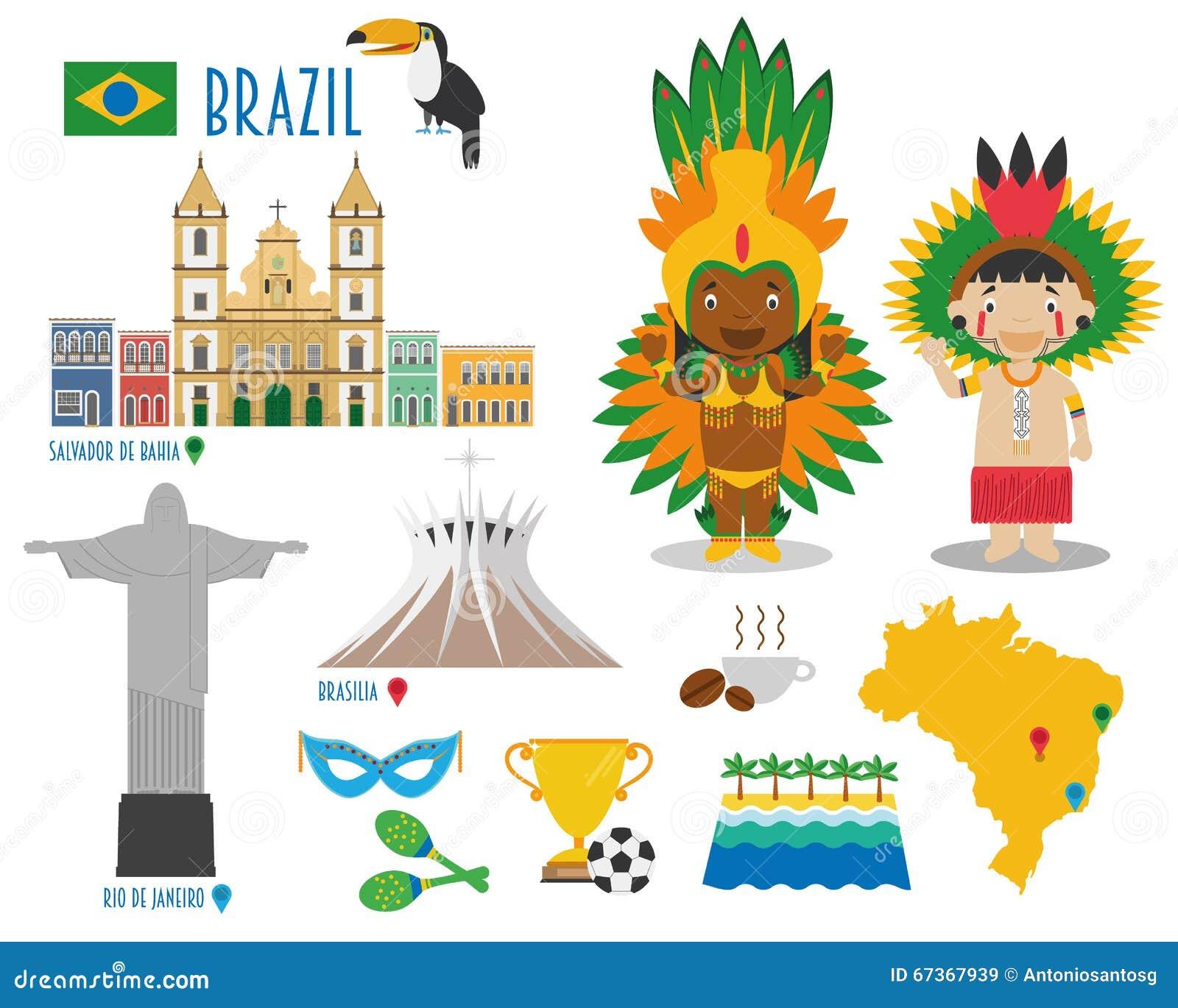 Voyage d icône plate du Brésil et concept réglés de tourisme