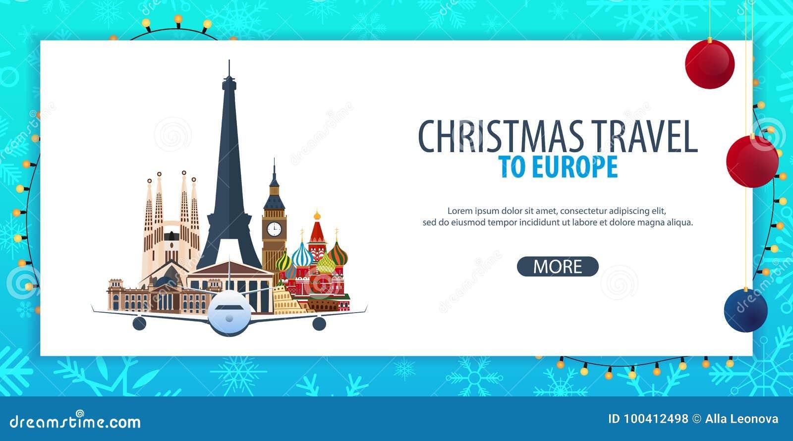 Voyage de Noël vers l Europe Neige et roches de bateau Illustration de vecteur