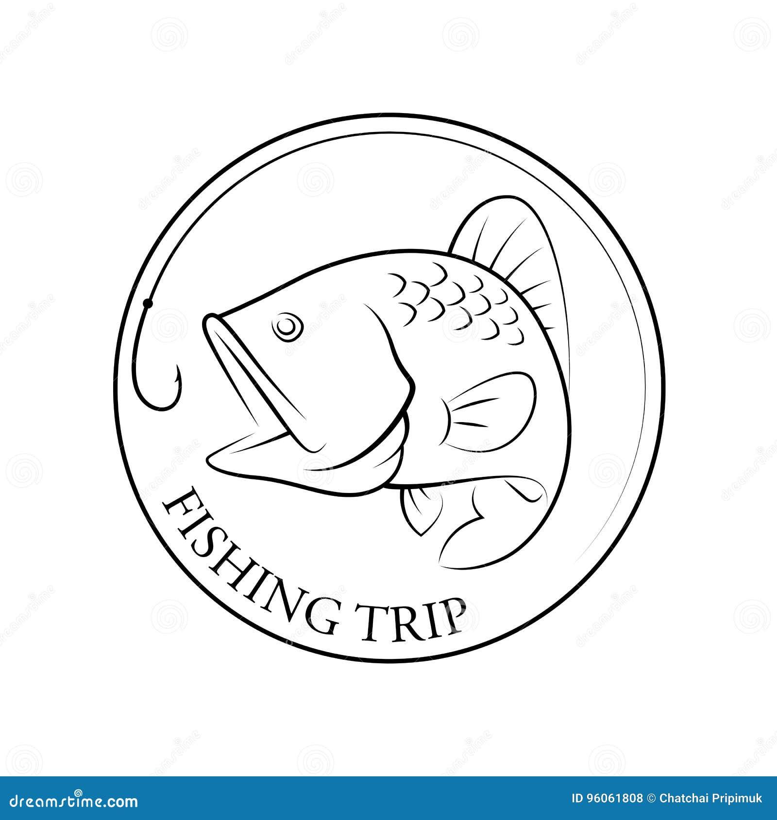 Voyage de pêche graphique, vecteur