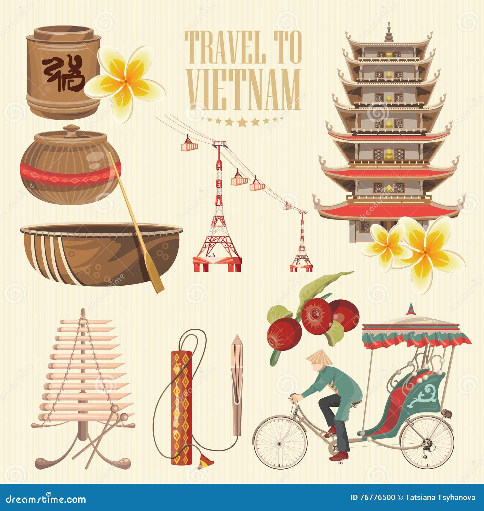 Populaire Voyage Vers Le Vietnam Ensemble De Symboles Culturels Vietnamiens  BA42