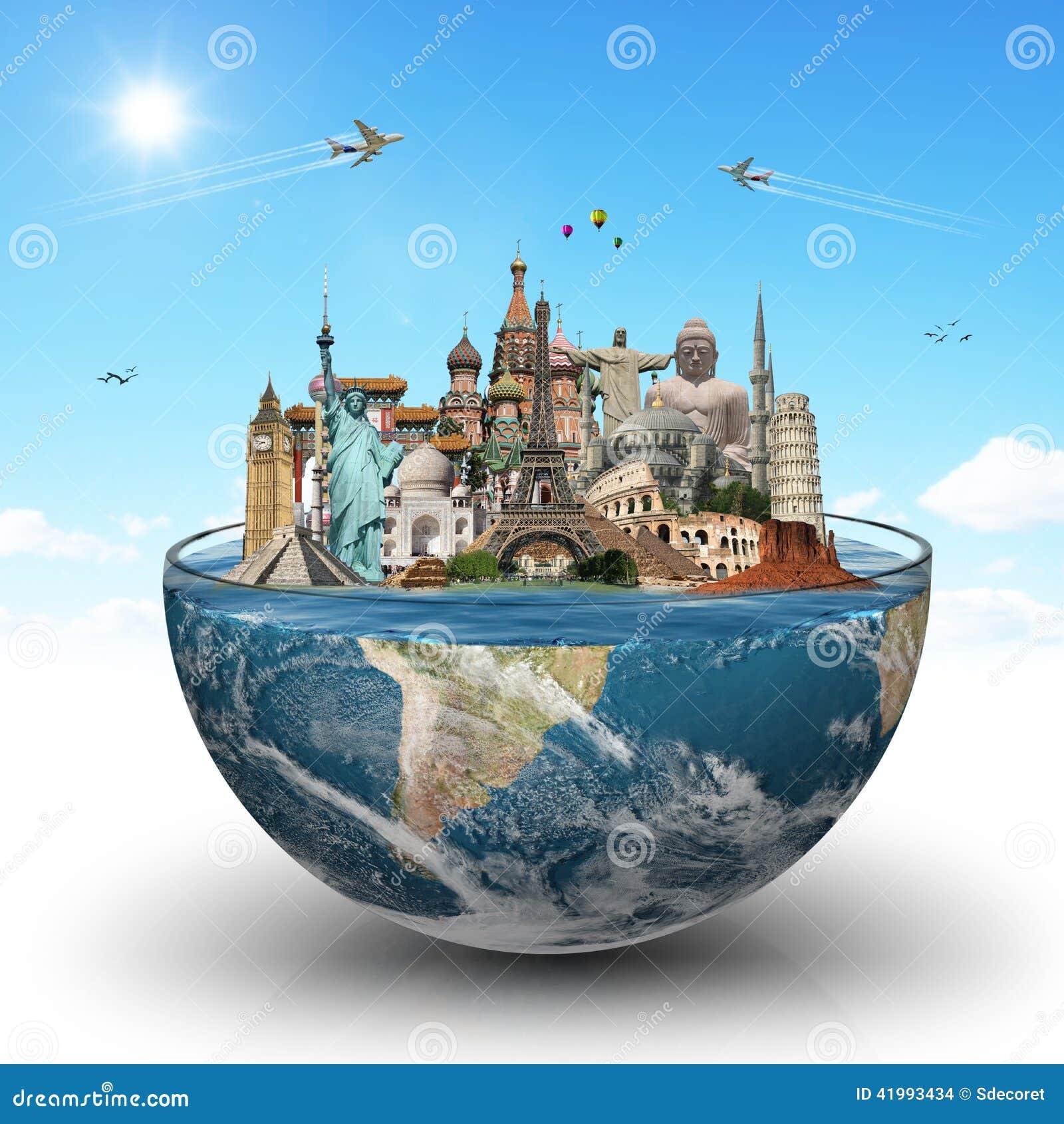 Voyagent le concept de monuments du monde illustration for Les monuments les plus connus du monde