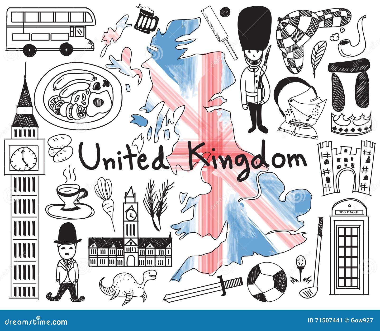 Voyagent le dessin du royaume uni angleterre et de l 39 ecosse griffonnage illustration de - Dessin de l angleterre ...
