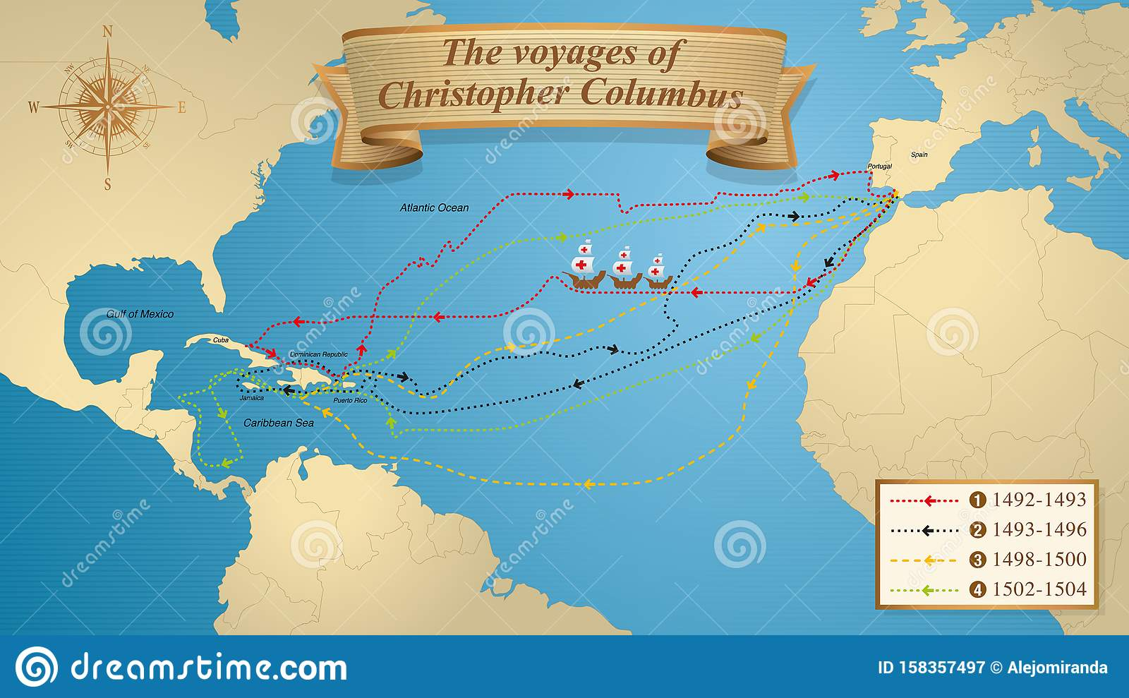The Voyages Of Christopher Columbus. Map With The Marked ...