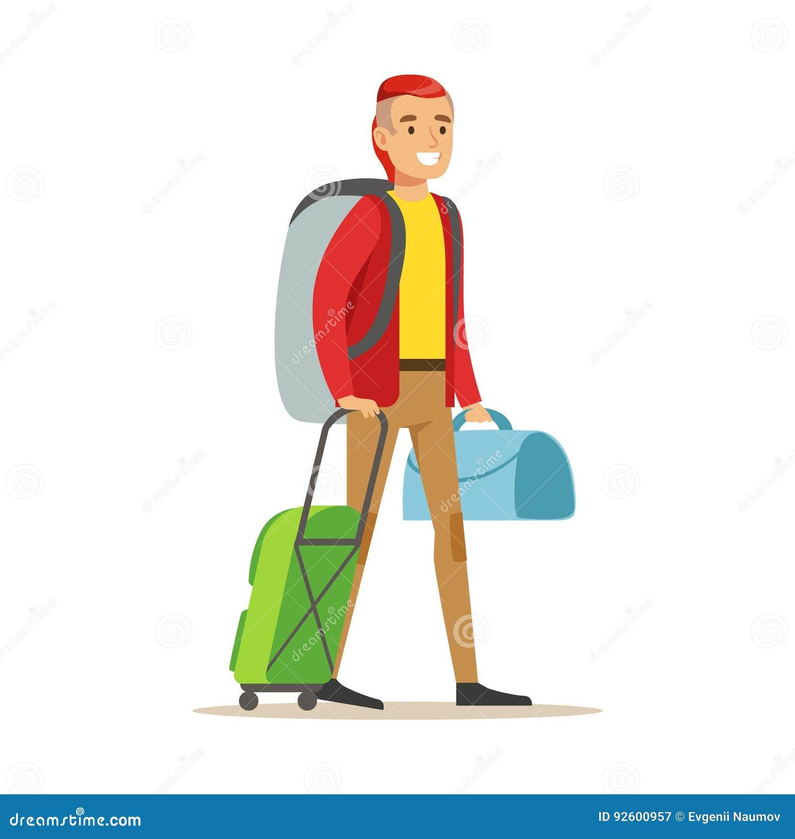 Voyageur de sourire d 39 homme se tenant avec le sac dos et - Voyageur dessin ...